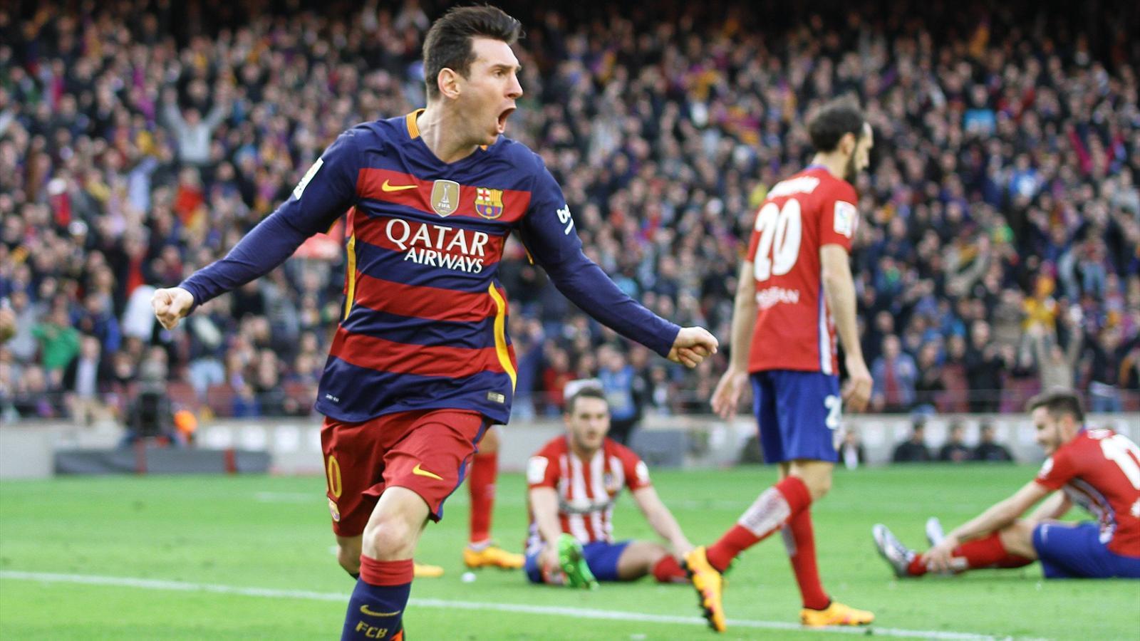 Lionel Messi celebrates his key goal