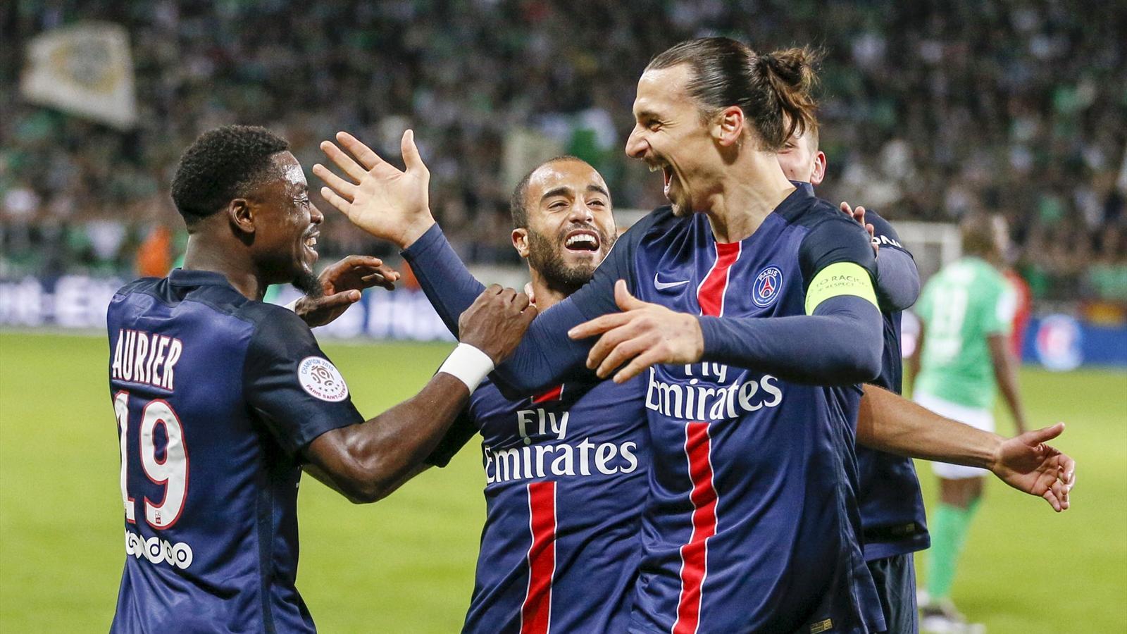Zlatan Ibrahimovic celebrates a PSG goal with teammates