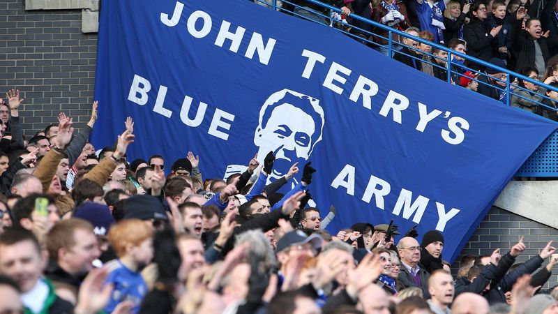 Chelsea fans show their support for their team and captain John Terry in the form of a giant banner