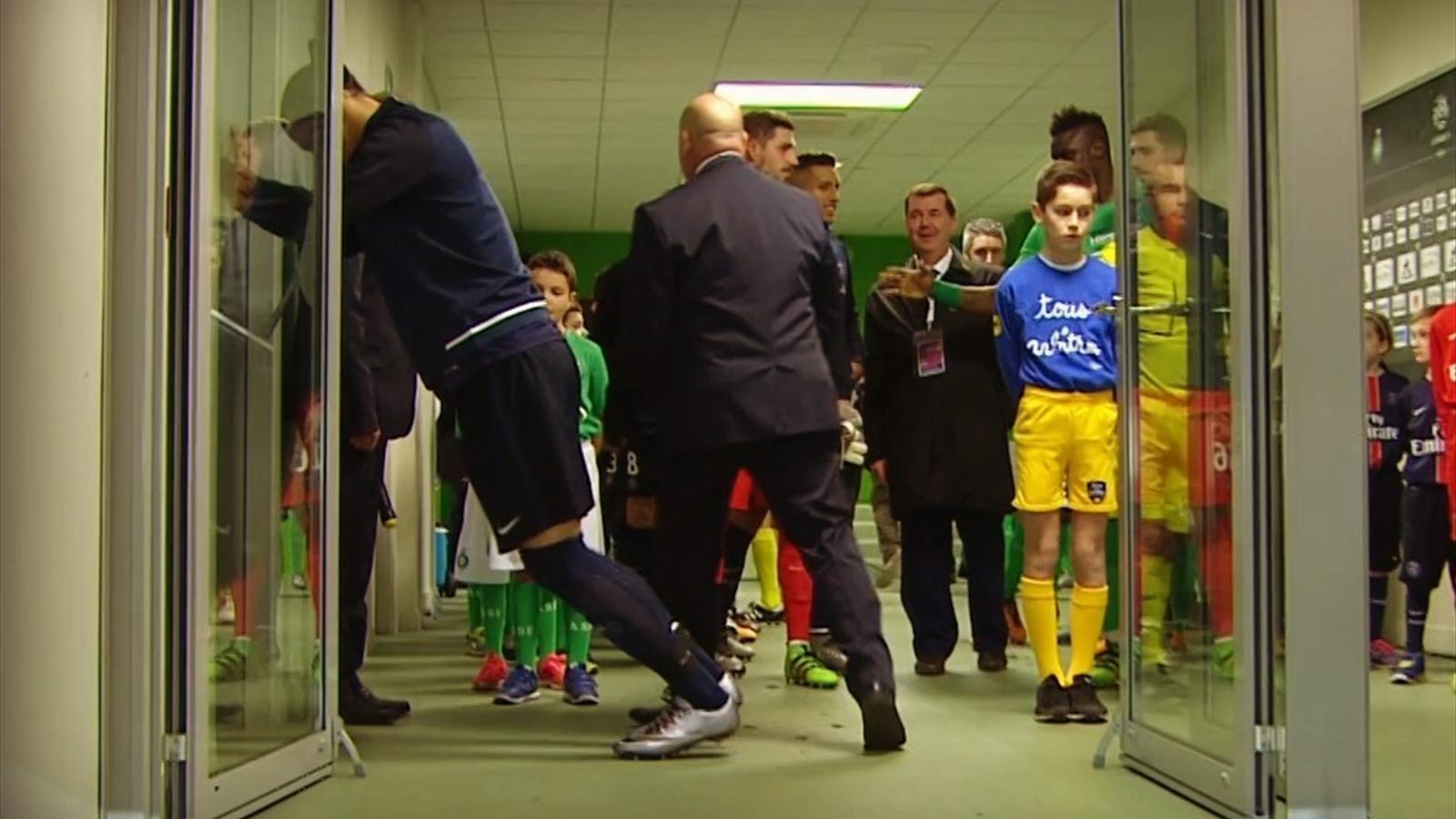Zlatan Ibrahimovic stretches against a door (screenshot)
