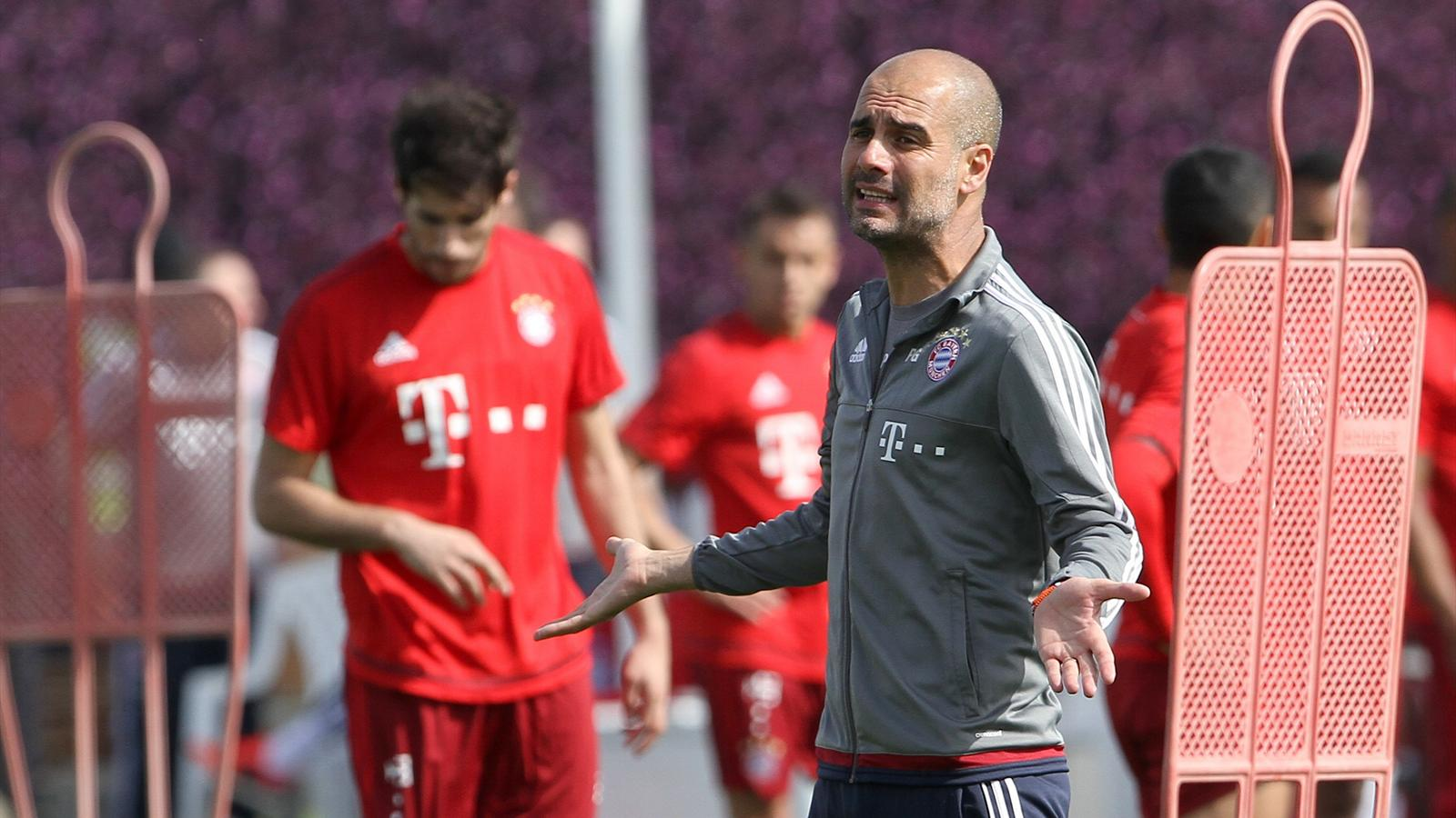 Bayern Munich's coach Pep Guardiola gestures during a training session at his team winter training camp in Doha, Qatar January 7, 2016