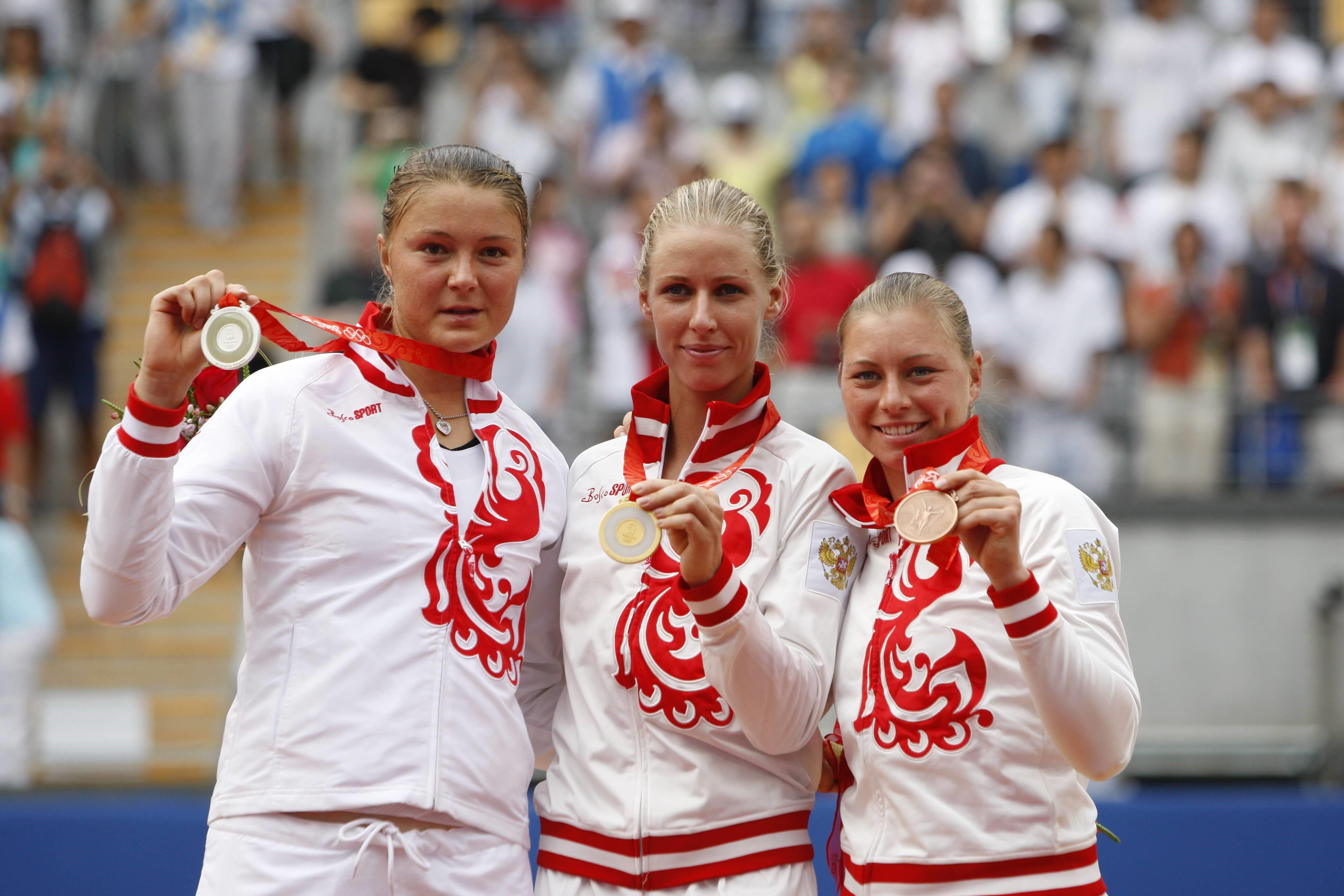 Динара Сафина, Елена Дементьева и Вера Звонарева. Пекин-2008