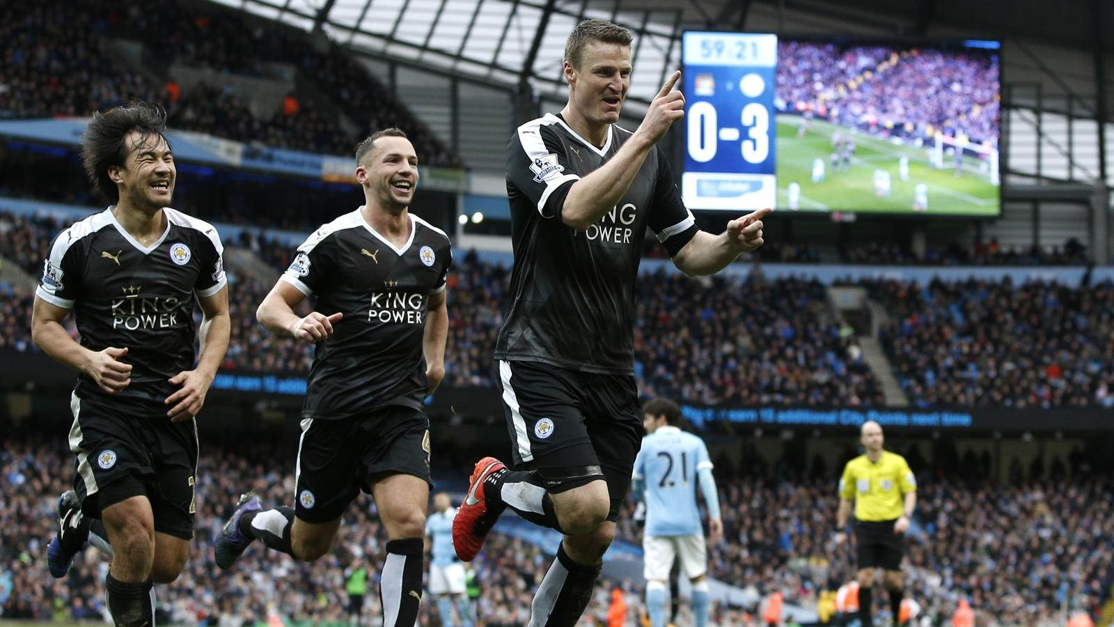 Robert Huth celebrates his second goal against Manchester City