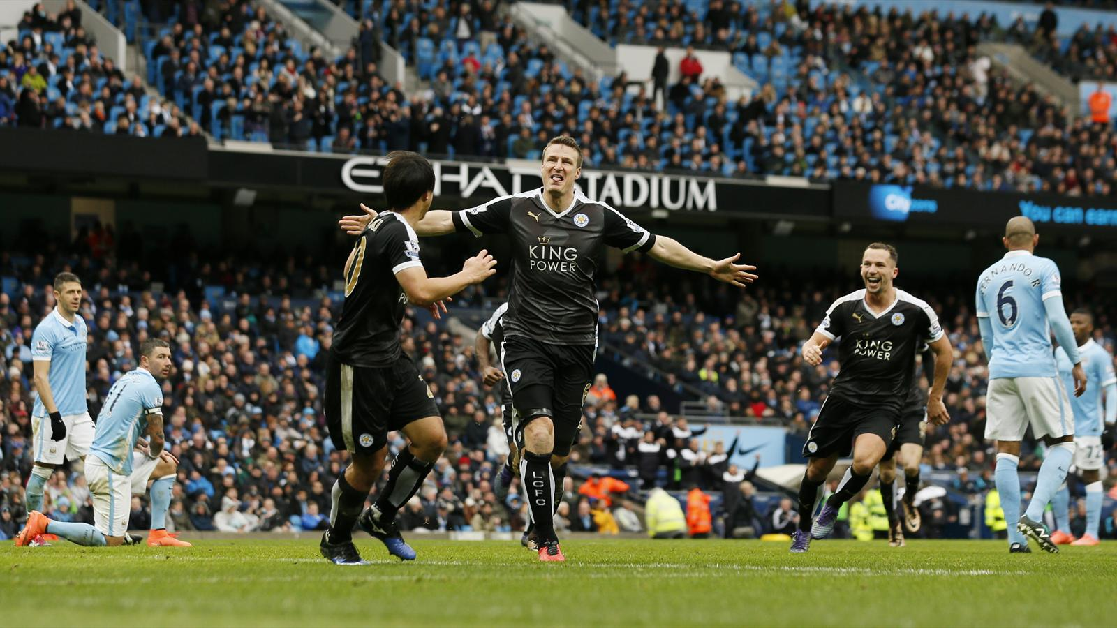 Robert Huth celebrates scoring for Leicester City against Manchester City