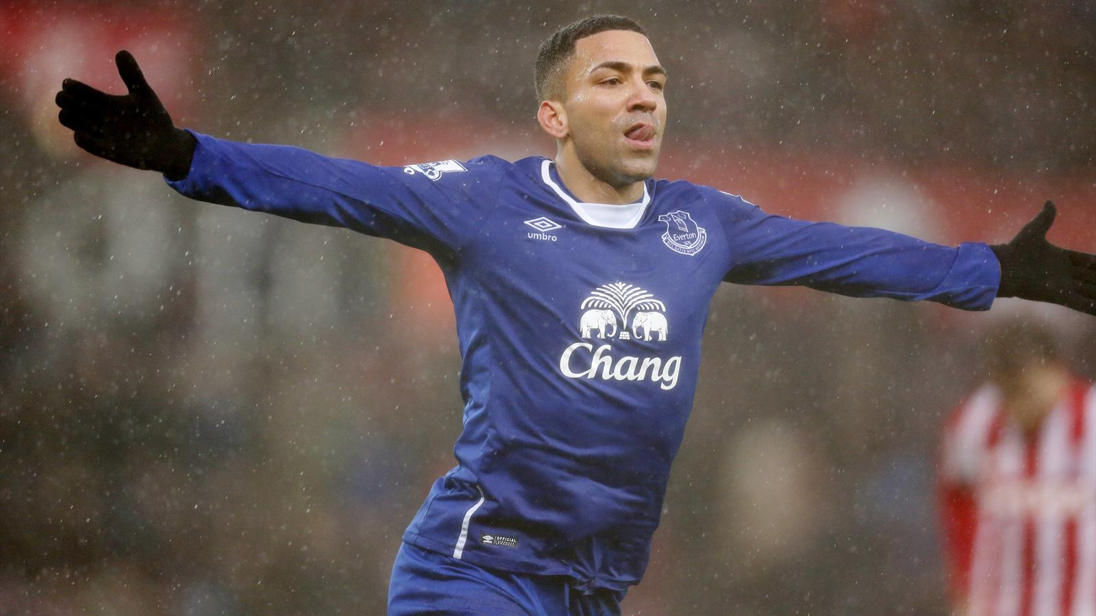Aaron Lennon celebrates scoring for Everton against Stoke