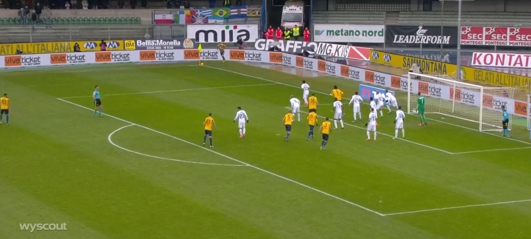 Il gol di Helander in Verona-Inter