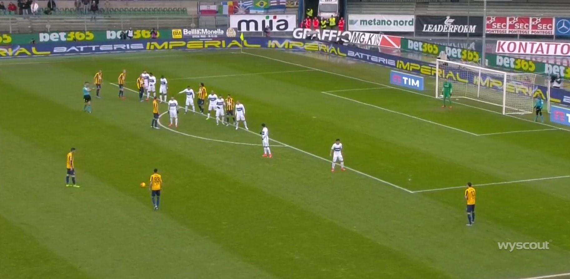 Il gol di Pisano in Verona-Inter