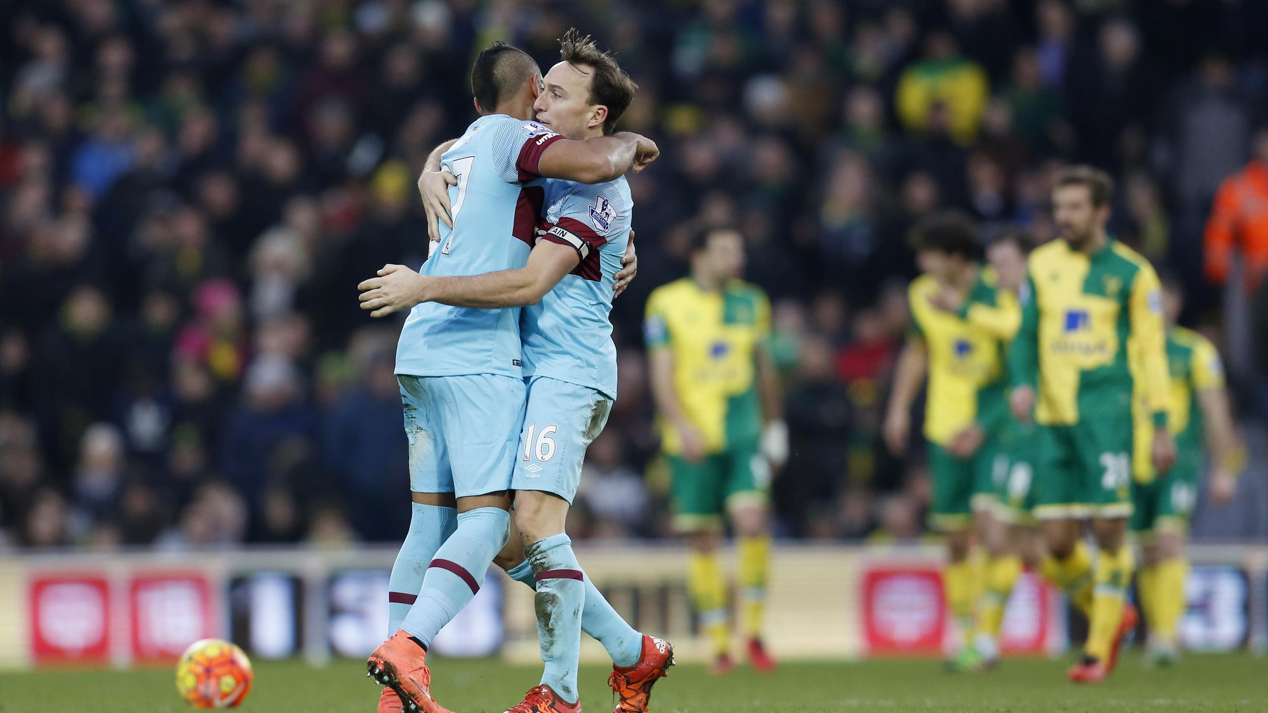 Mark Noble celebrates scoring the second goal for West Ham with Dimitri Payet