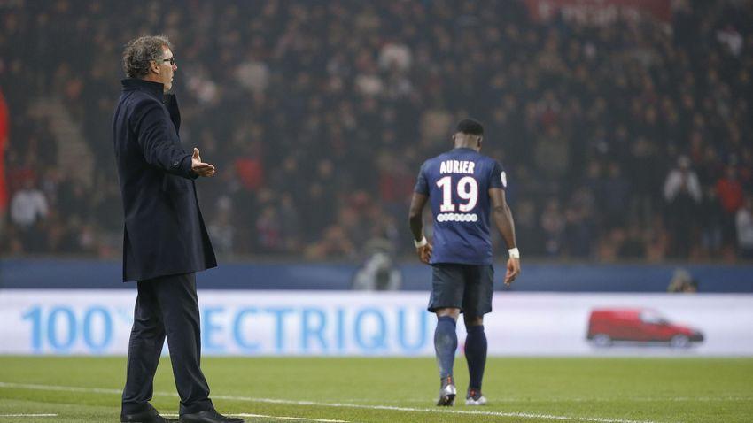 Laurent Blanc et Serge Aurier contre Lyon le 13 décembre 2015