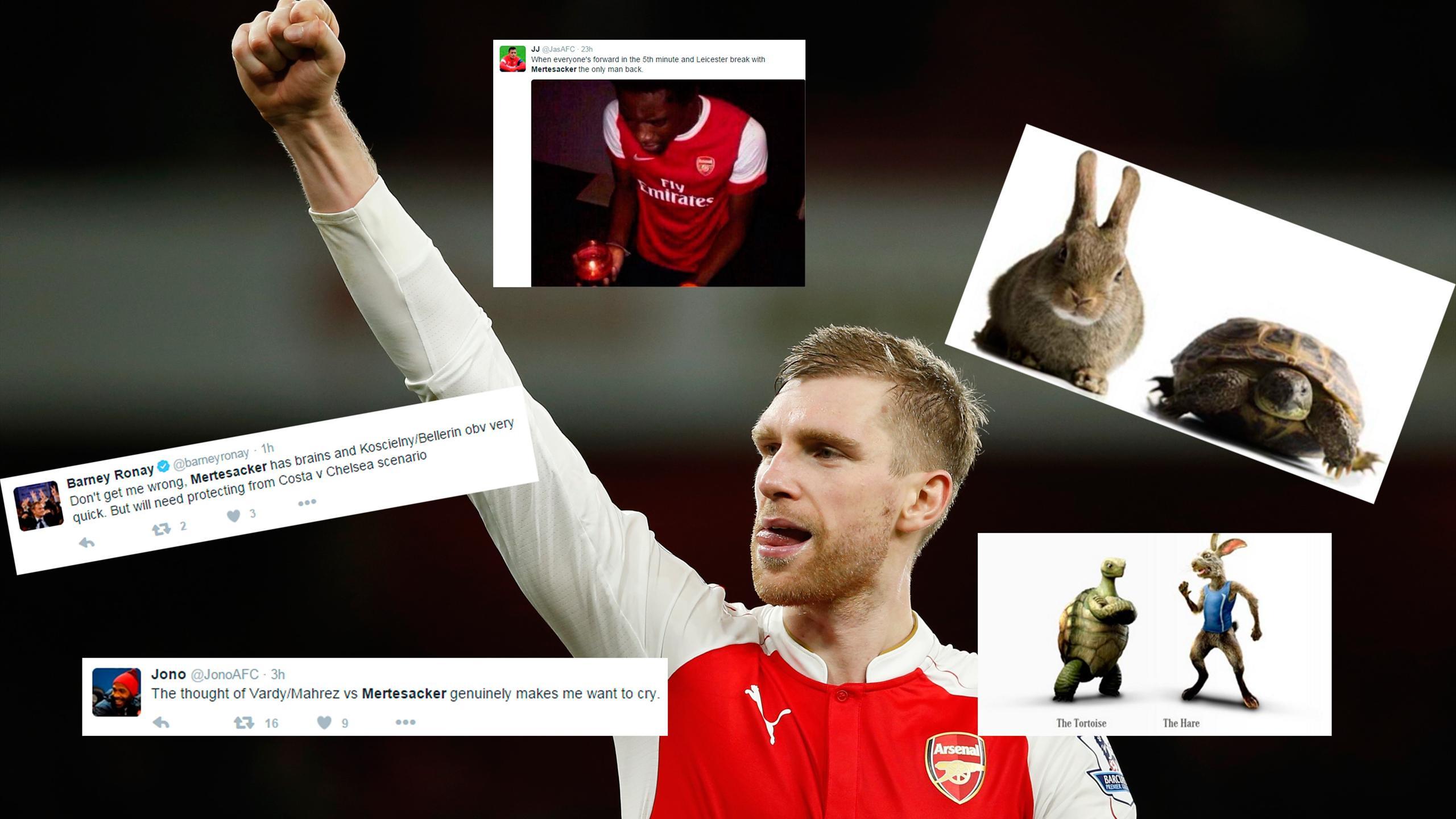 Twitter reaction to Per Mertesacker starting for Arsenal against Leicester City