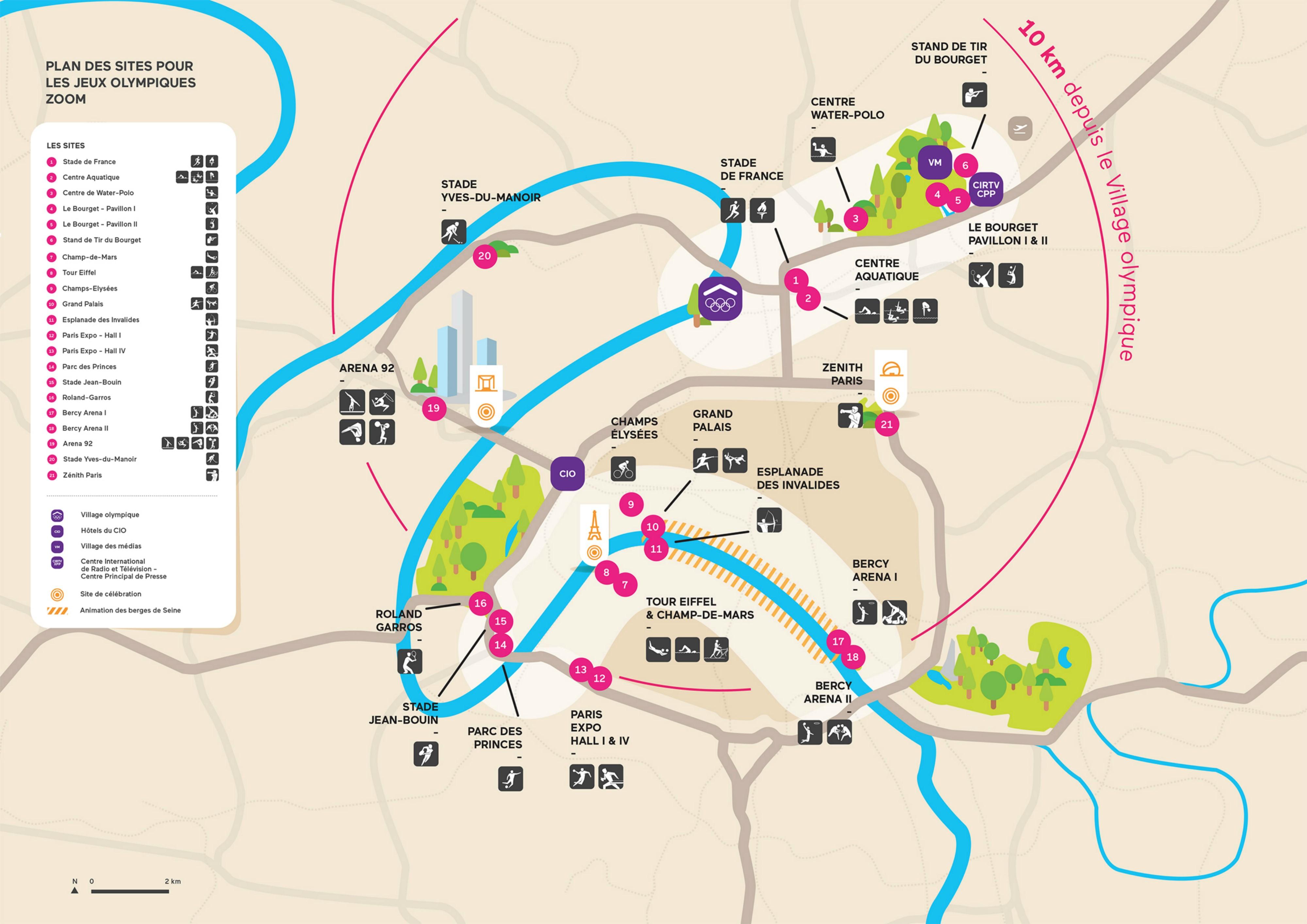 La carte des sites de Paris 2024