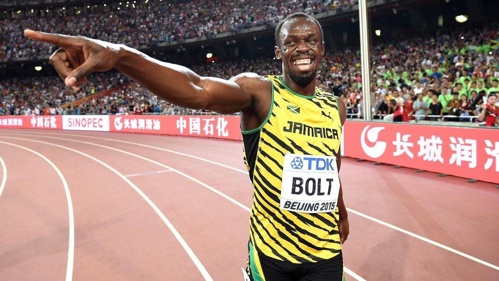 Usain Bolt après la victoire de la Jamaïque sur 4x100m aux Mondiaux 2015 à Pékin
