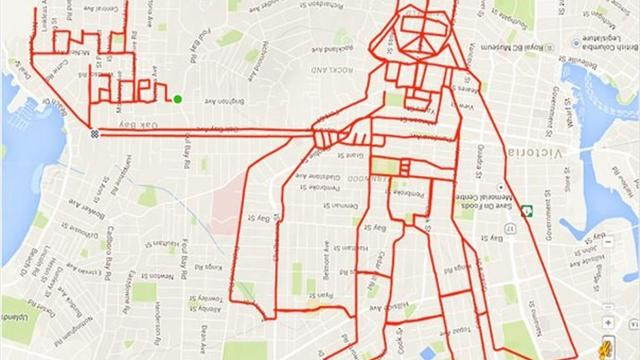 Канадский велосипедист нарисовал Дарта Вейдера маршрутом на карте
