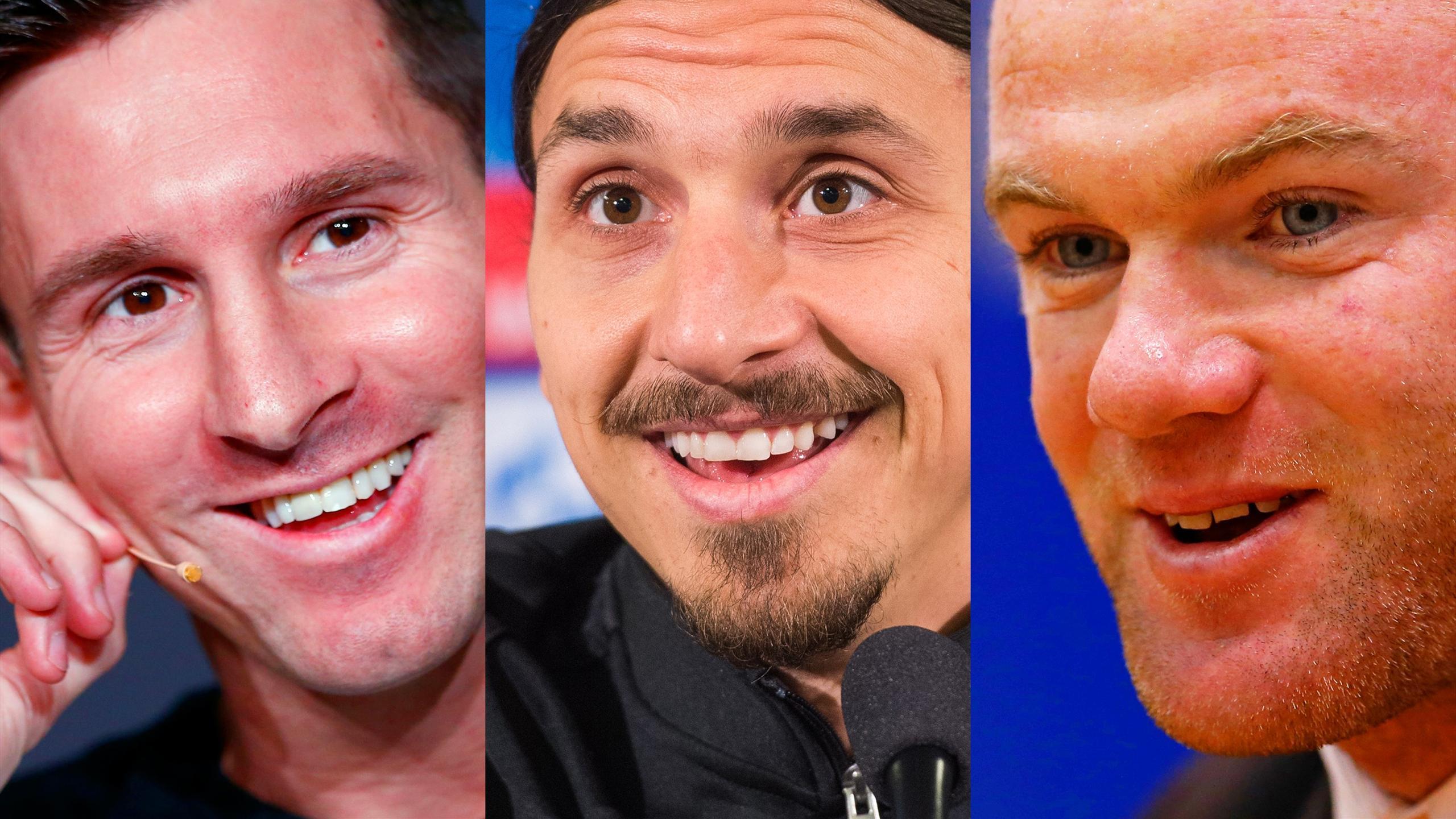 Lionel Messi, Zlatan Ibrahimovic and Wayne Rooney