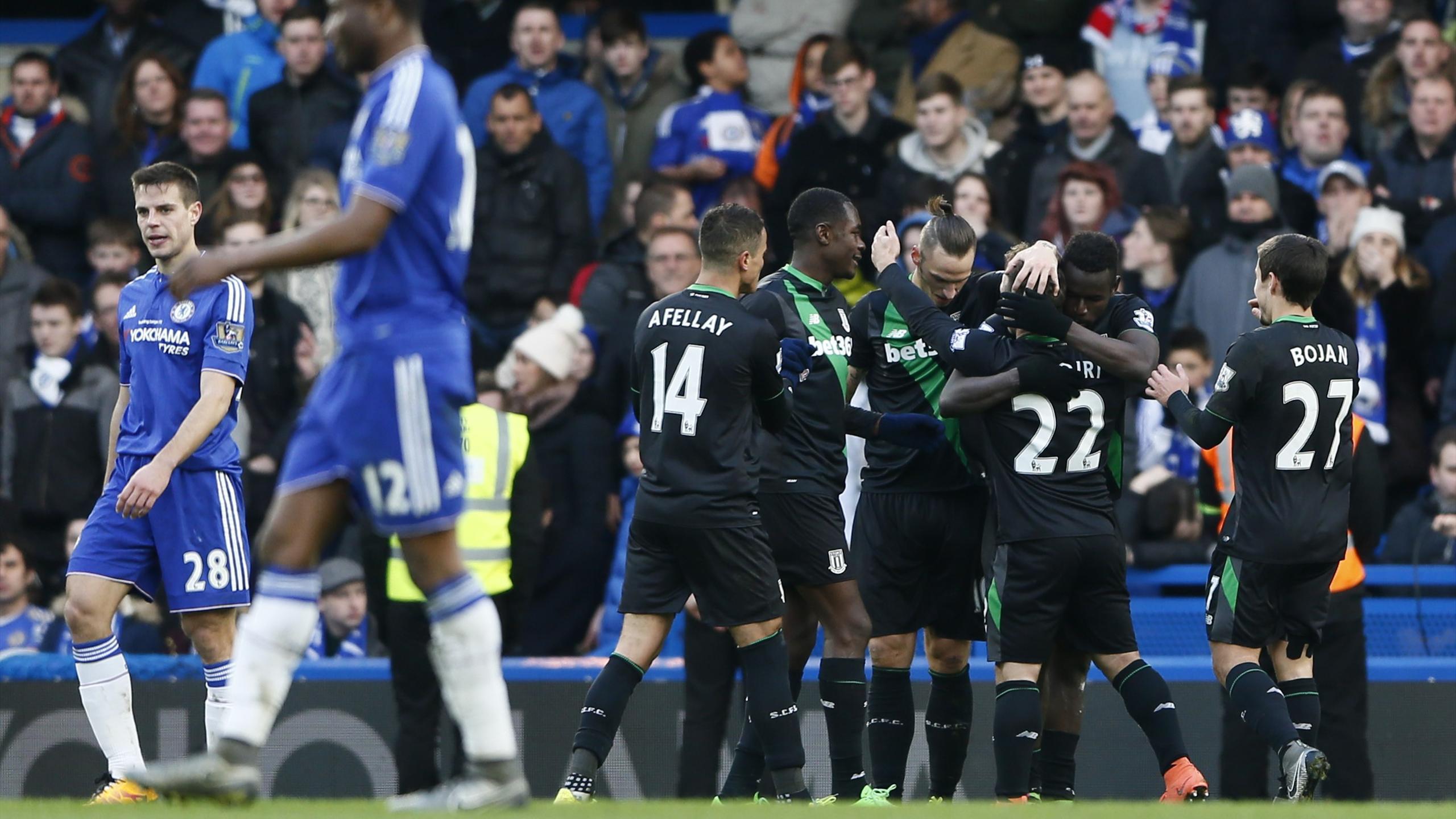 Stoke celebrate Mame Biram Diouf's equaliser against Chelsea