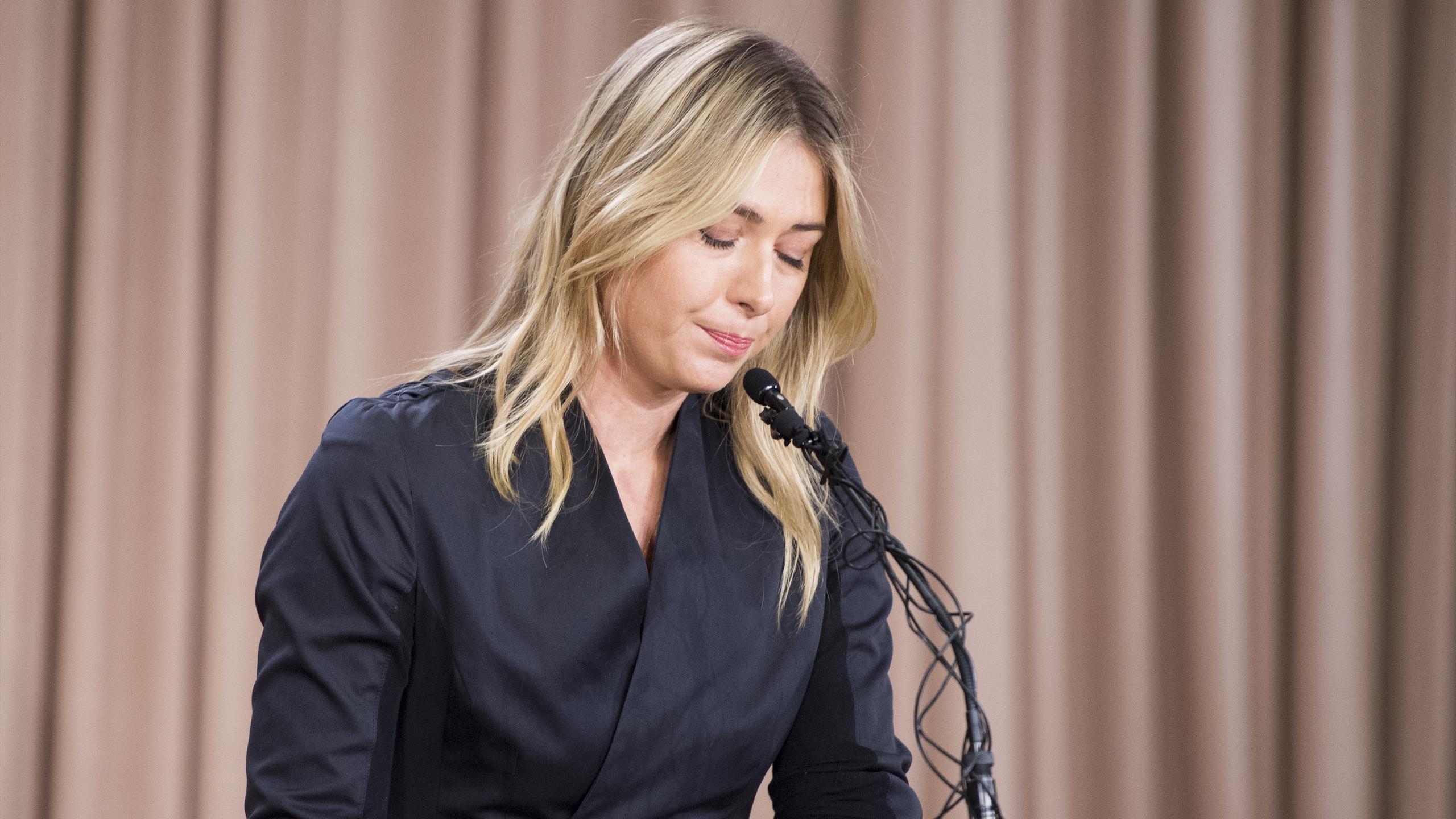 Maria Sharapova lors de sa conférence de presse à Los Angeles, lundi 7 mars 2016