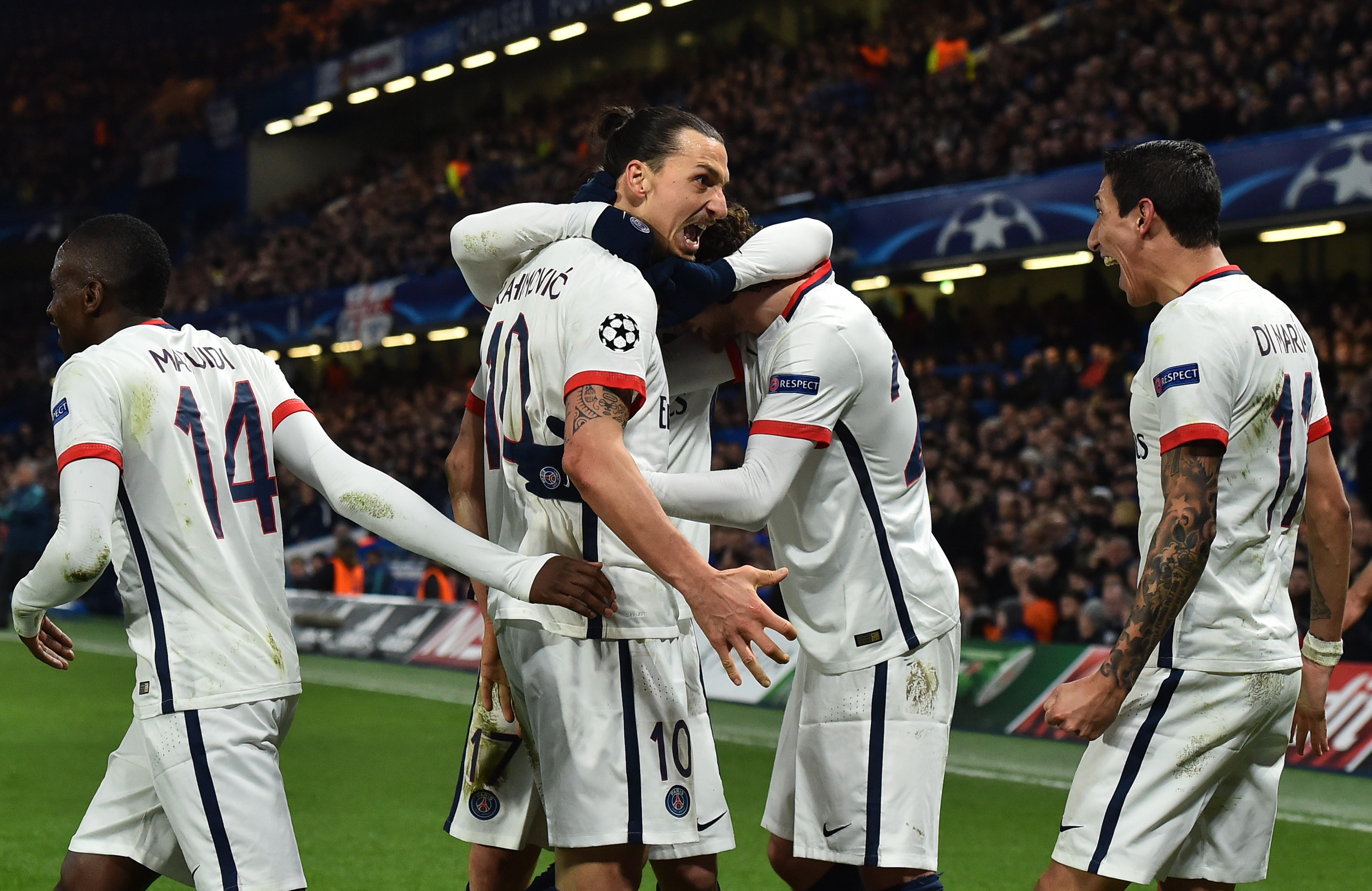 Zlatan Ibrahimovic lors de Cheldea - PSG en Ligue des Champions le 9 mars 2016