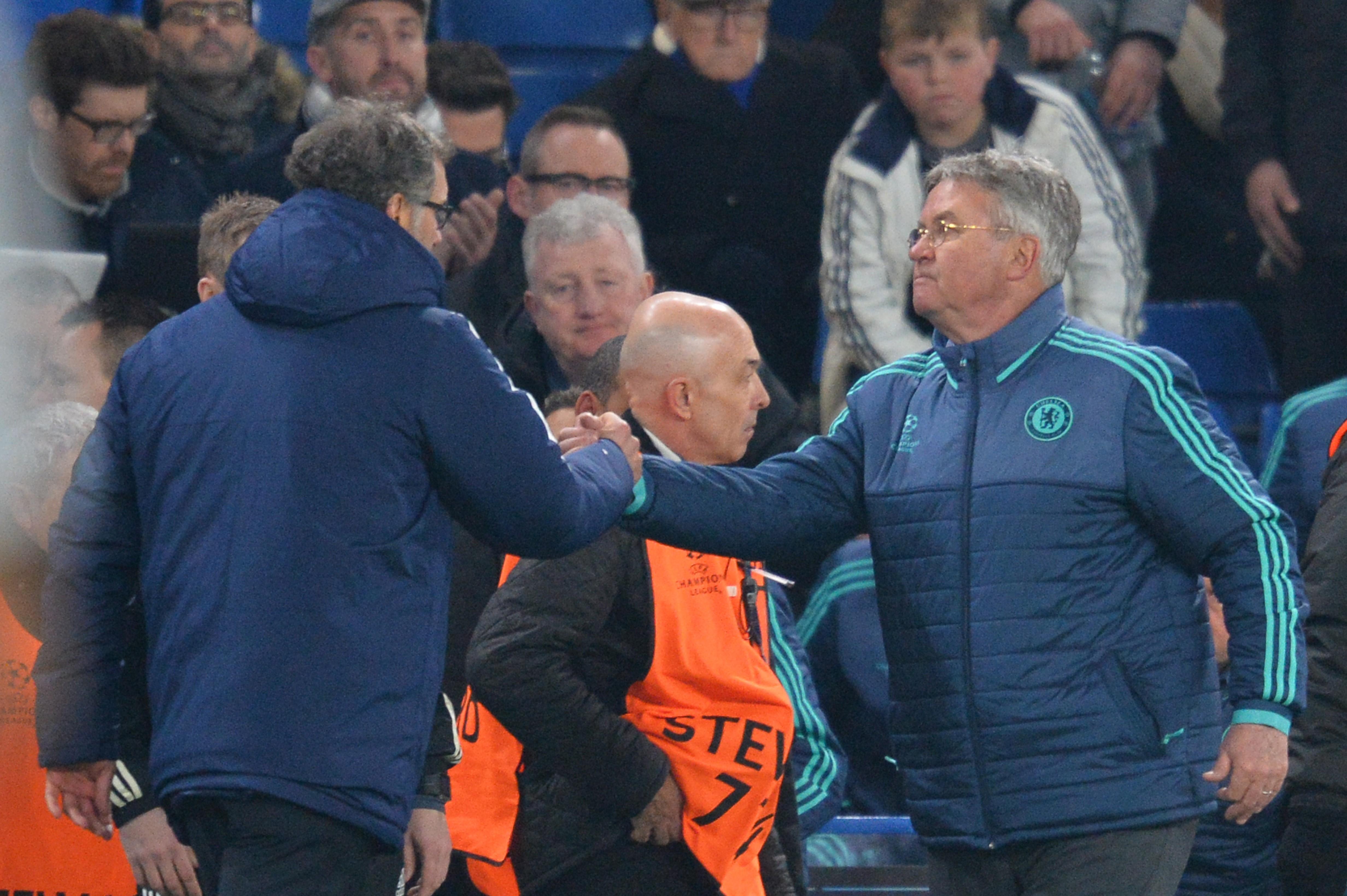 Laurent Blanc et Guus Hiddink après Chelsea - PSG en Ligue des champioons le 9 mars 2016