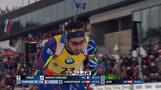 Même une pénalité n'a pas freiné Martin Fourcade vers un 4e titre à Oslo : sa course en vidéo