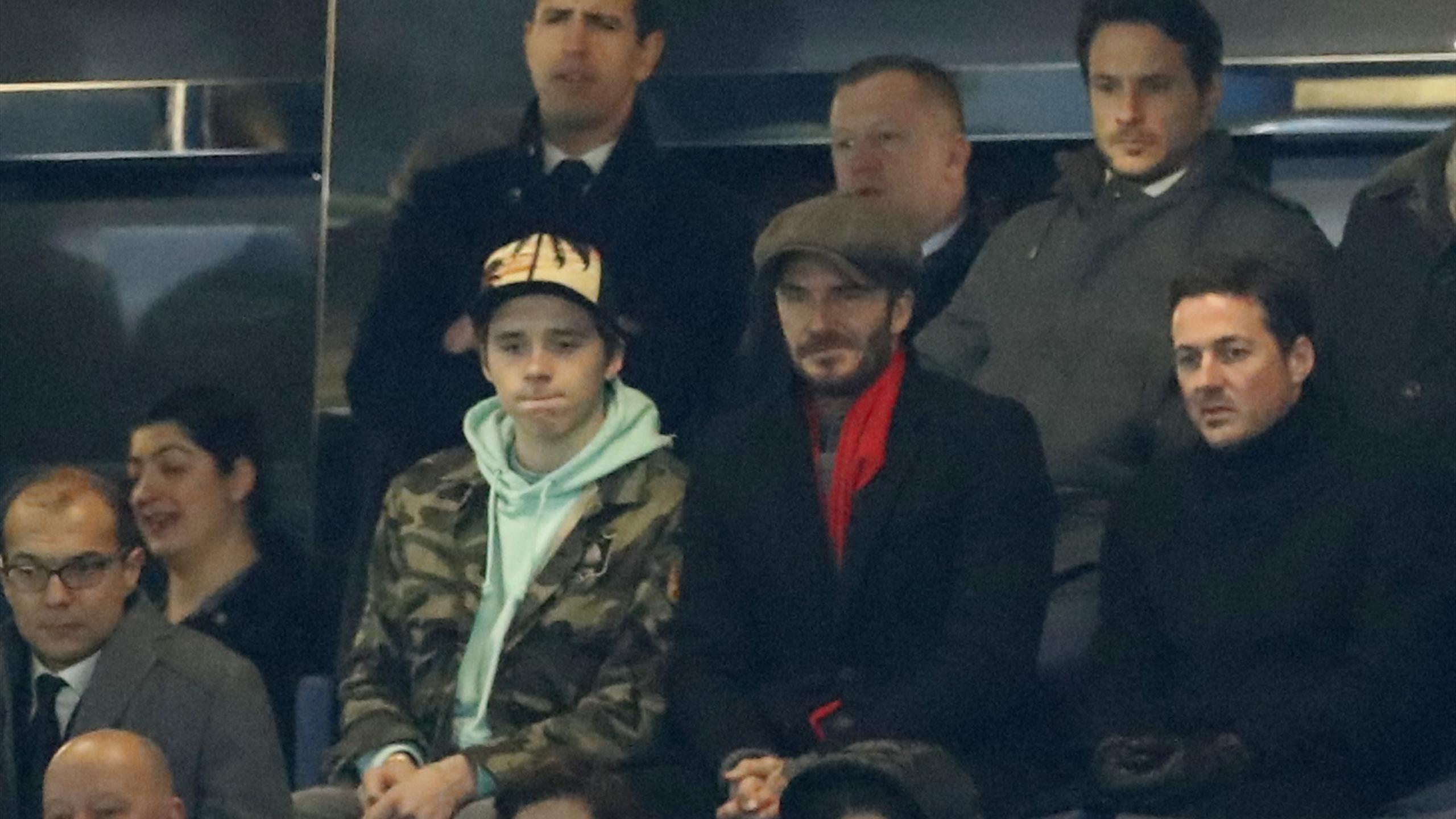 David Beckham with his son Brooklyn at Stamford Bridge for Chelsea v PSG