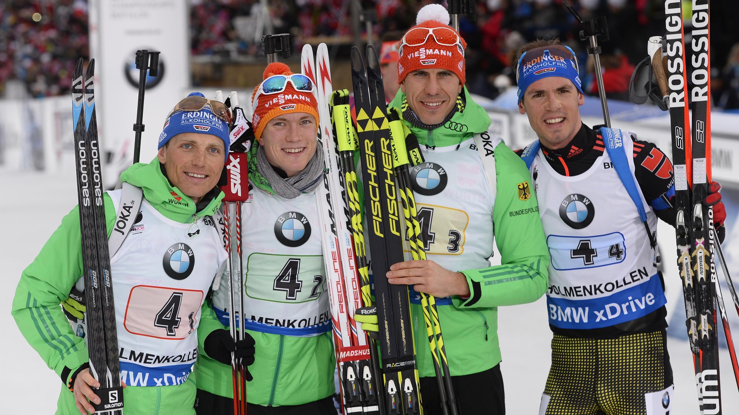 Erik Lesser, Benedikt Doll, Arnd Peiffer und Simon Schempp bei der WM in Oslo