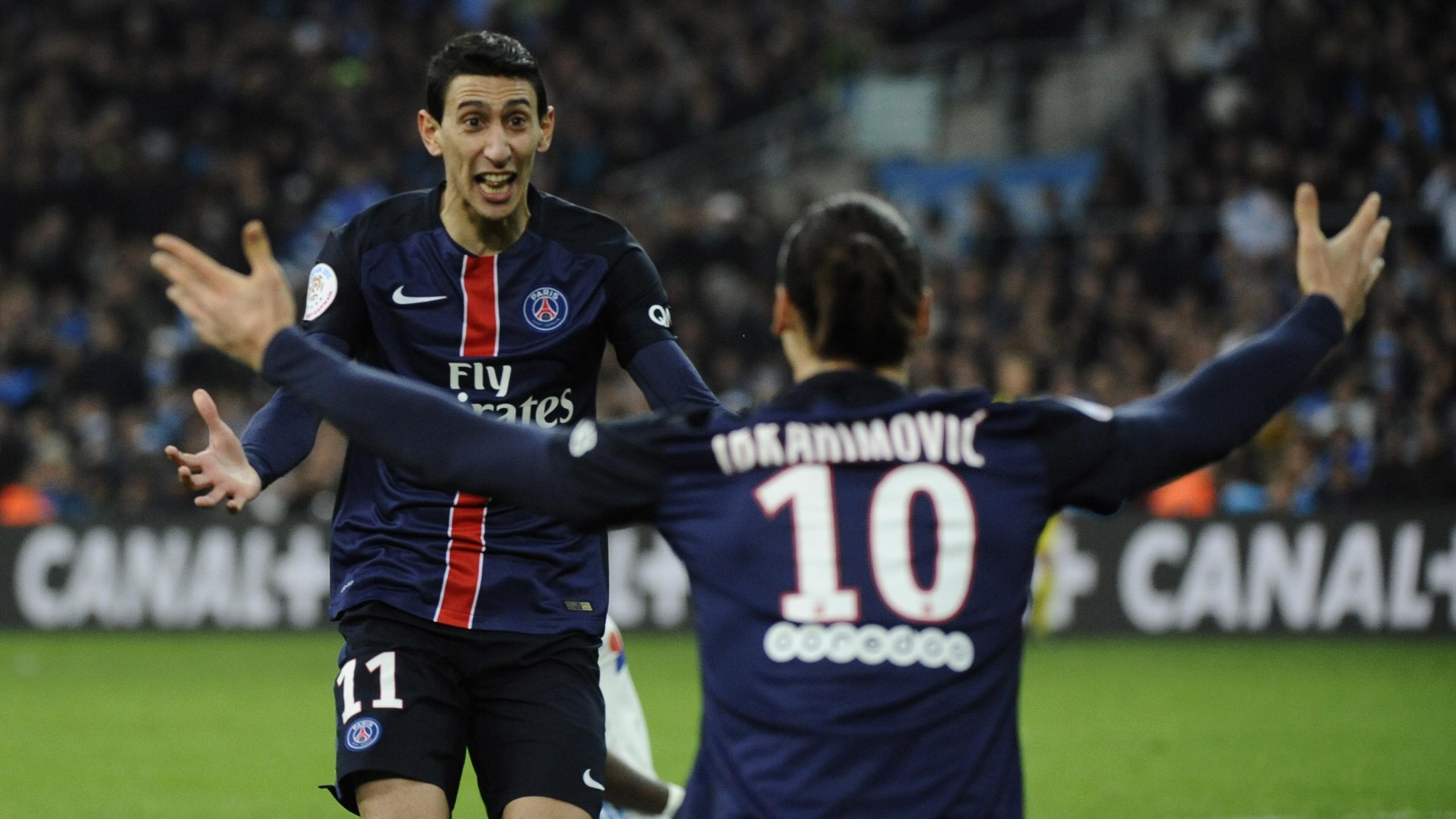 Angel Di Maria et Zlatan Ibrahimovic lors de la victoire du PSG à Marseille en 2016