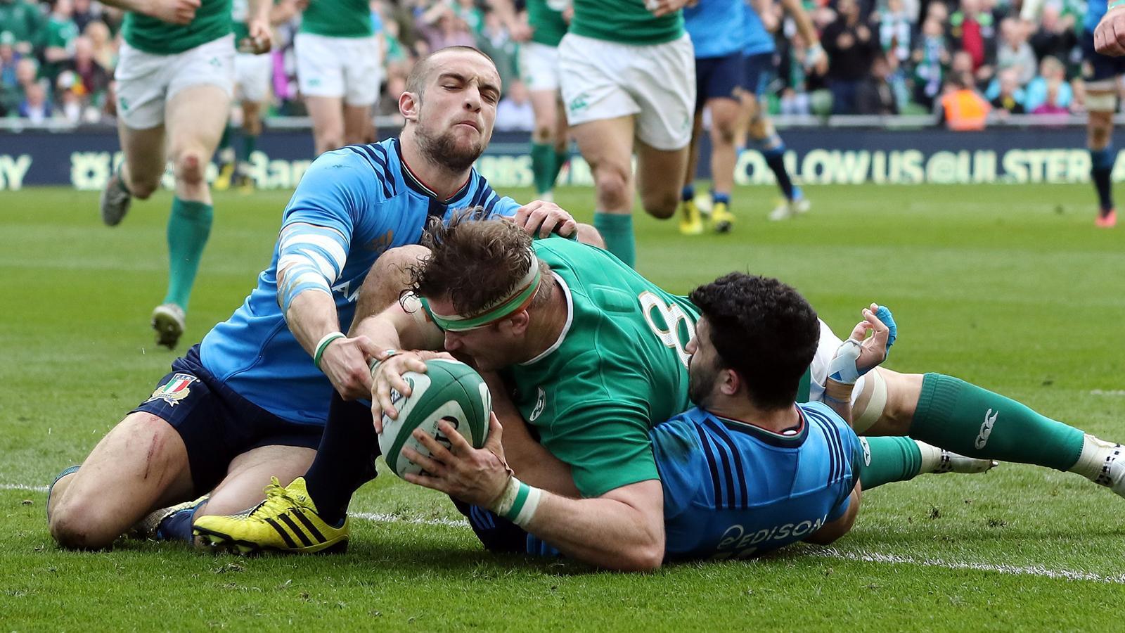 L'essai de Jamie Heaslip (Irlande) face à l'Italie - 12 mars 2016