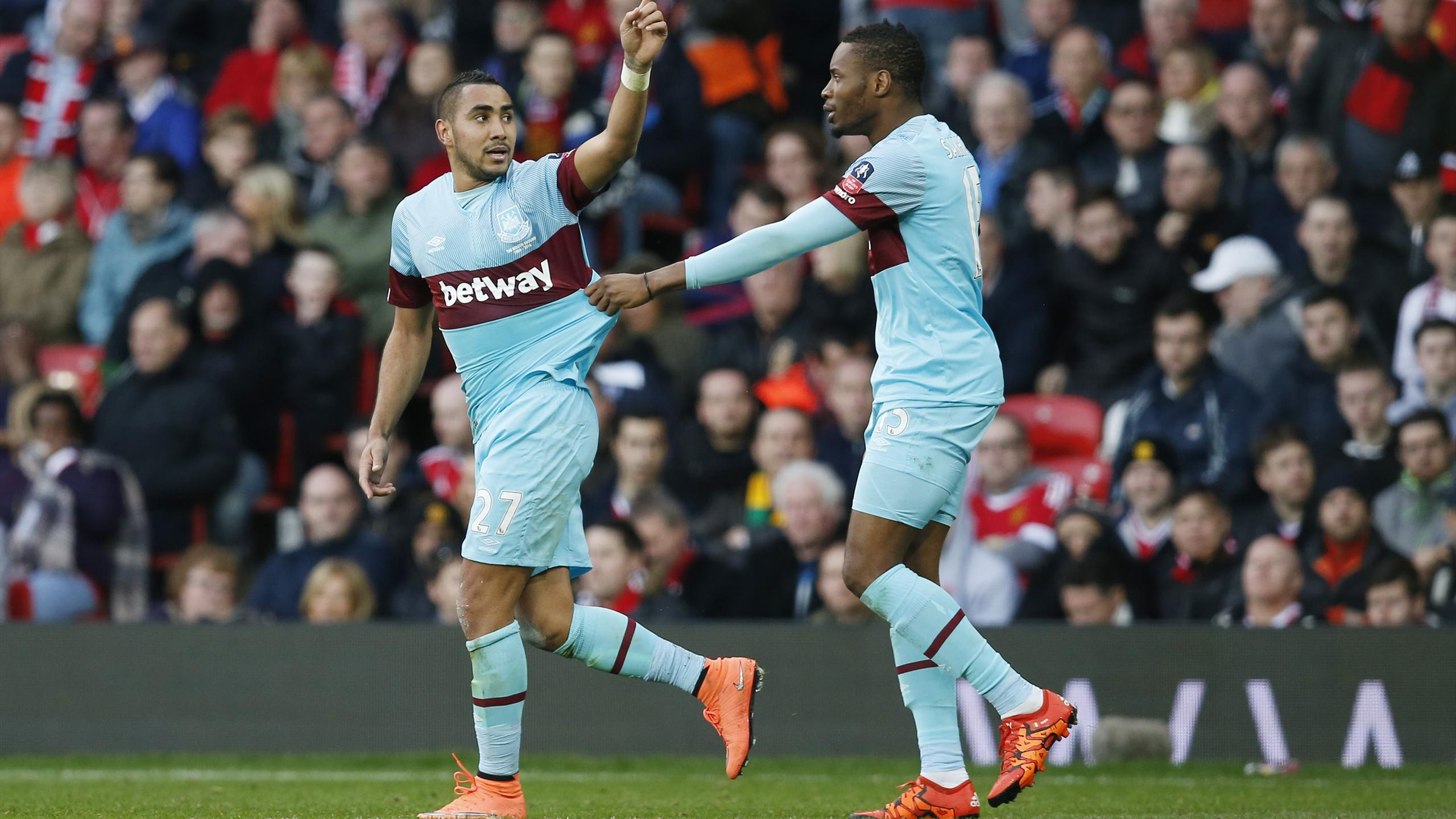 Dimitri Payet celebrates scoring the first goal for West Ham