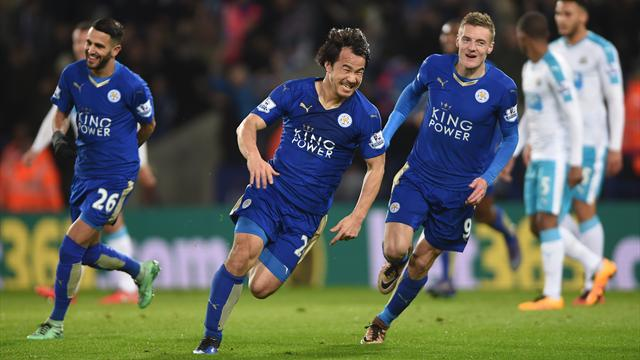 Okazaki's stunning overhead kick sends Leicester five points clear