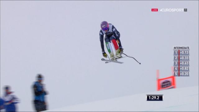 Elena Curtoni sul podio (3a) nella discesa femminile di St. Moritz