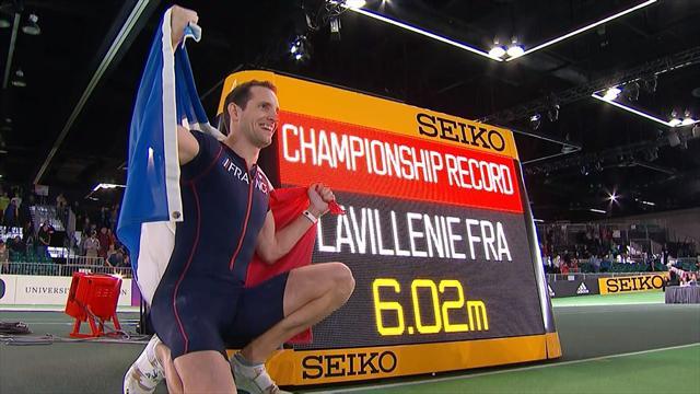 6,02 m dès son premier essai : revivez le saut du titre de Lavillenie