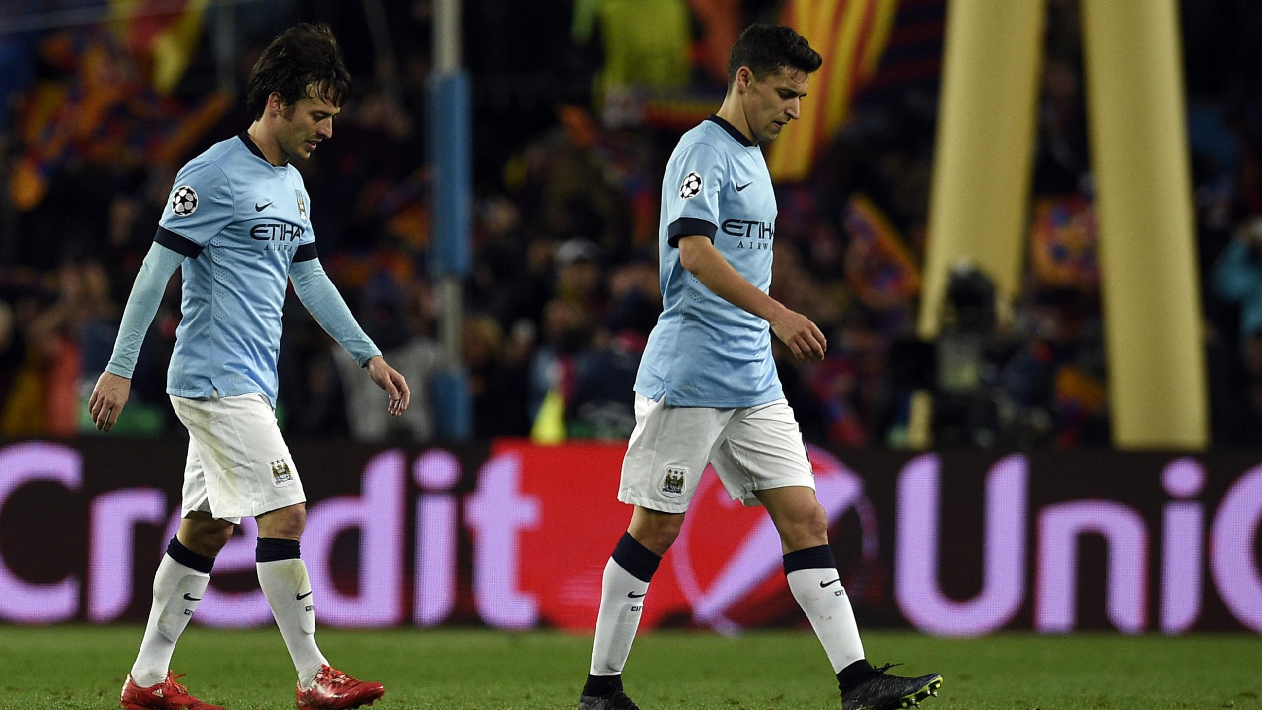 David Silva et Jesus Navas lors de l'élimination de City à Barcelone en 2015