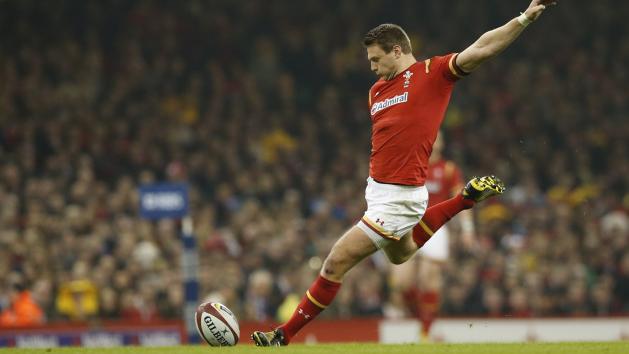 Wales's Dan Biggar kicks a penalty against Italy