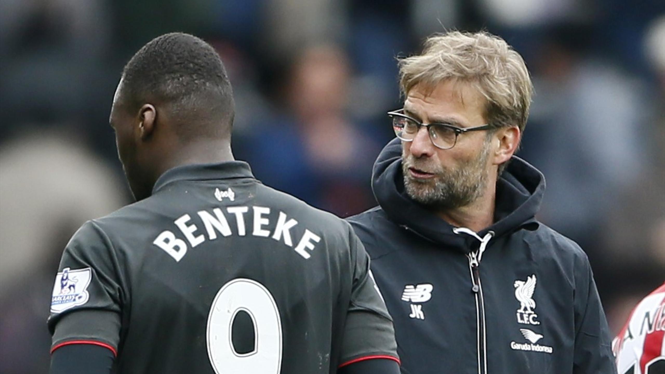 Liverpool manager Jurgen Klopp with Christian Benteke