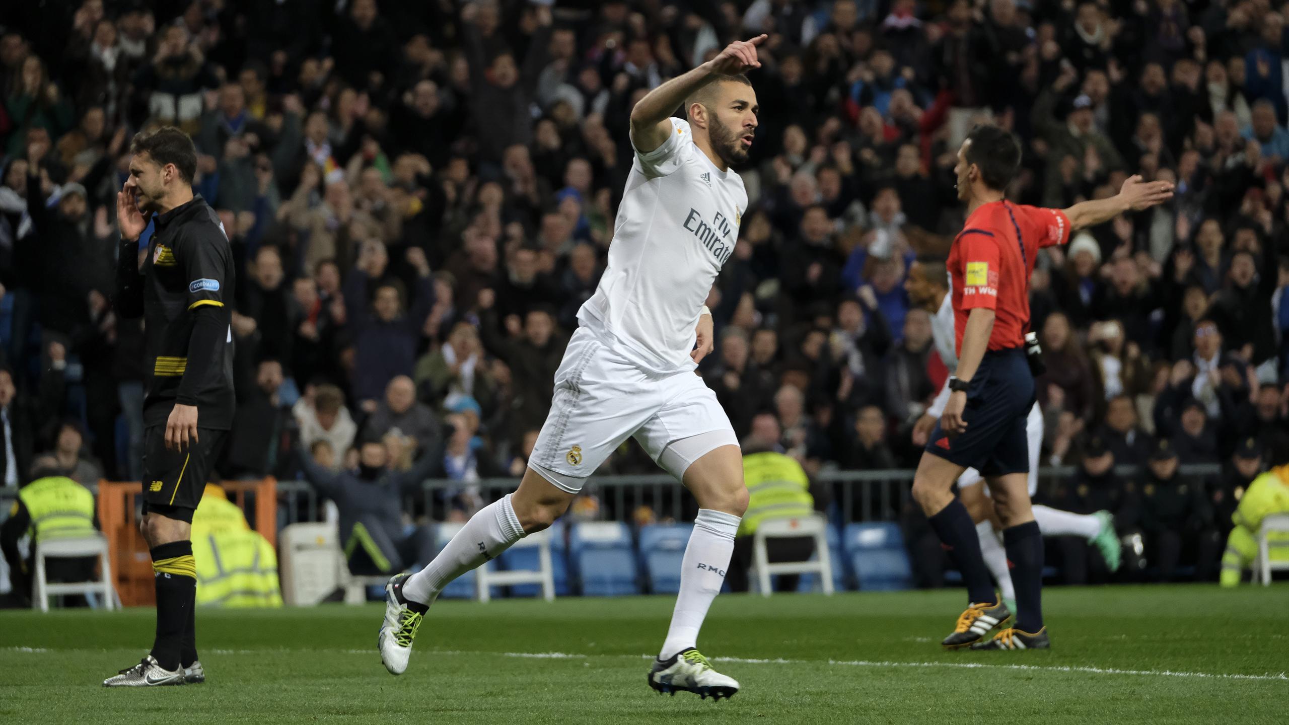 Karim Benzema erzielte das 1:0 für Real Madrid gegen Sevilla
