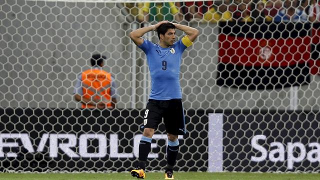 Suarez scores on Uruguay return in 2-2 draw against Brazil