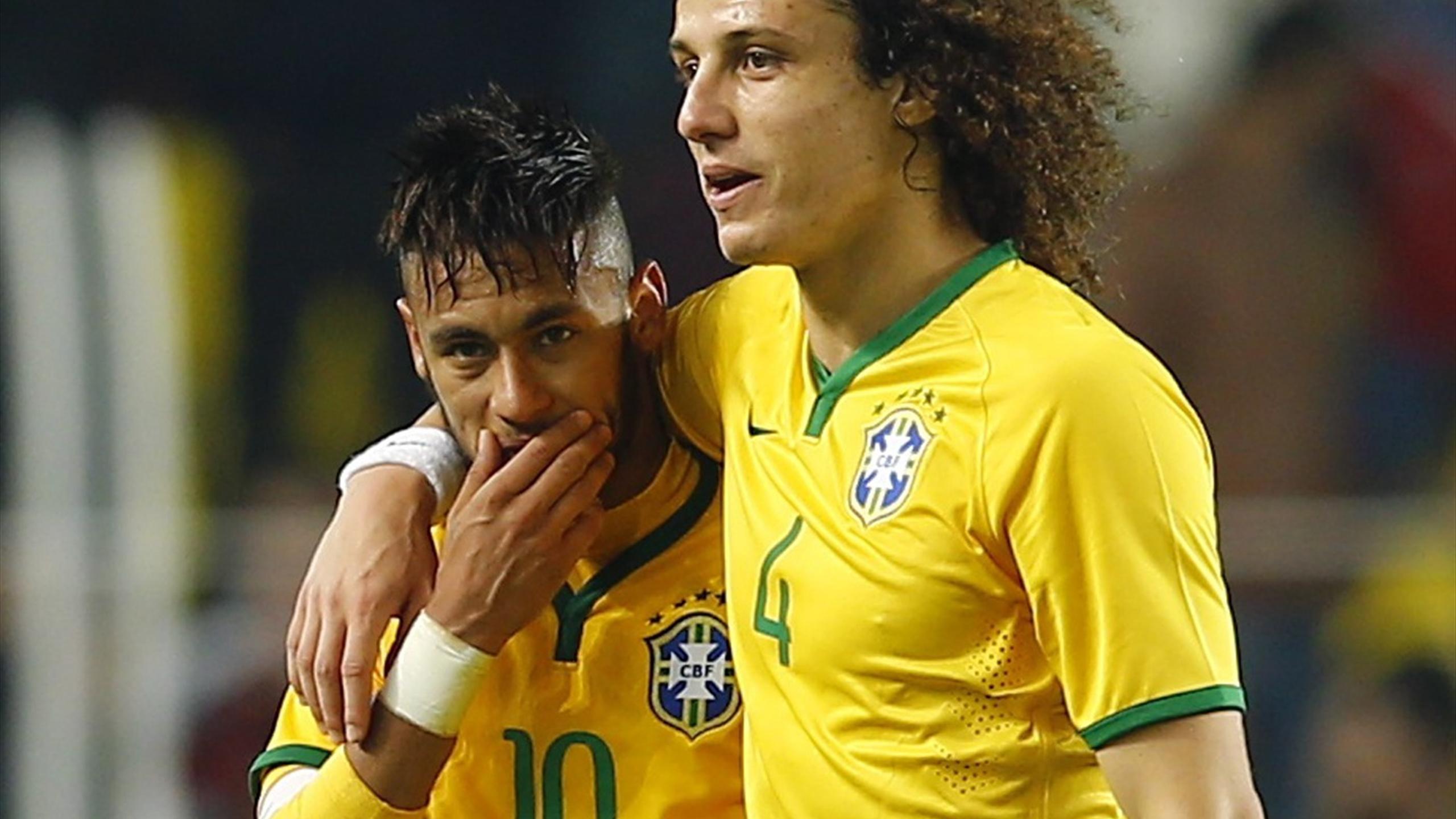 Neymar and David Luiz representing Brazil