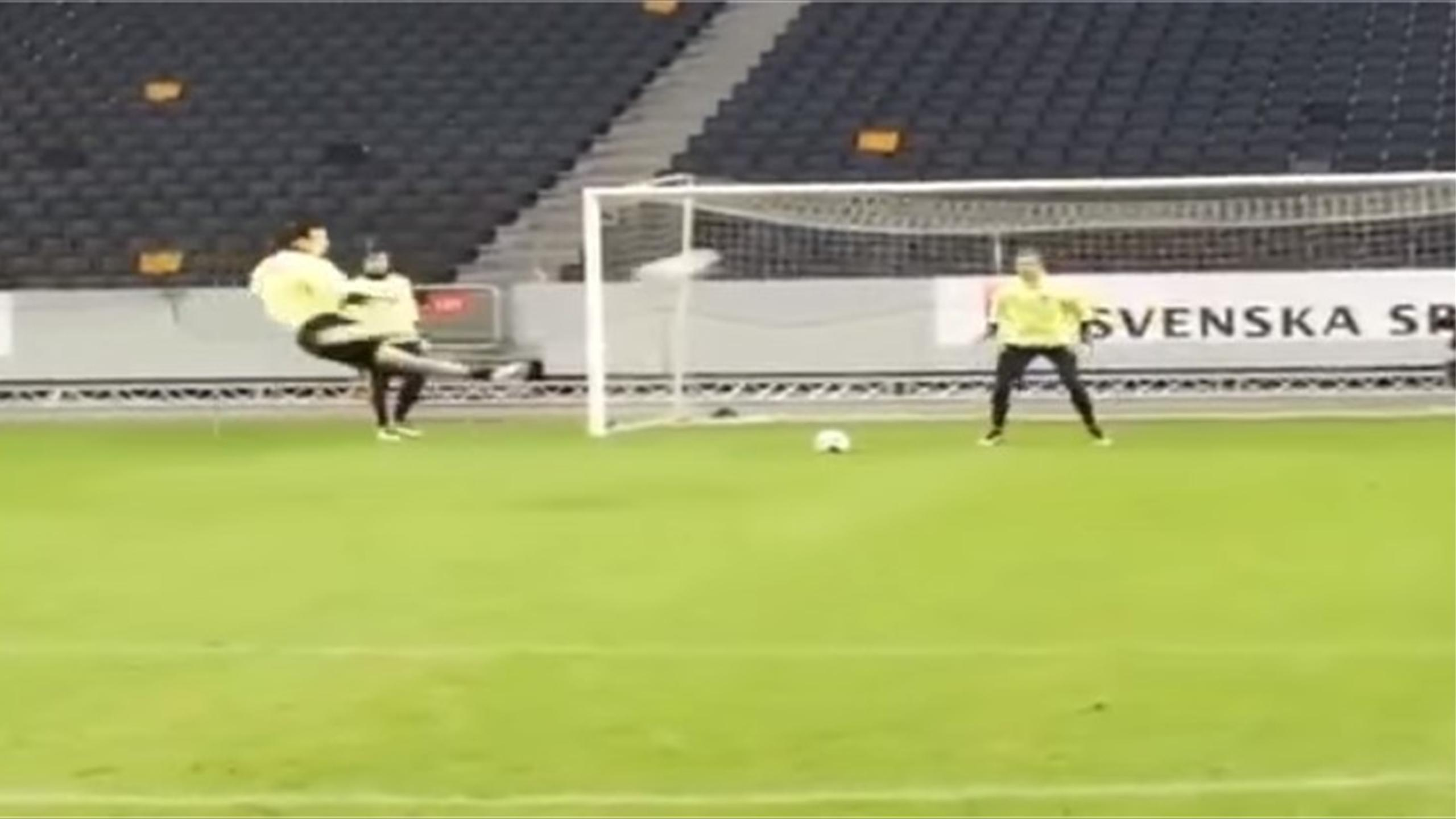 Zlatan Ibrahimovic scores TWO incredible goals without pausing in Sweden training (Youtube)