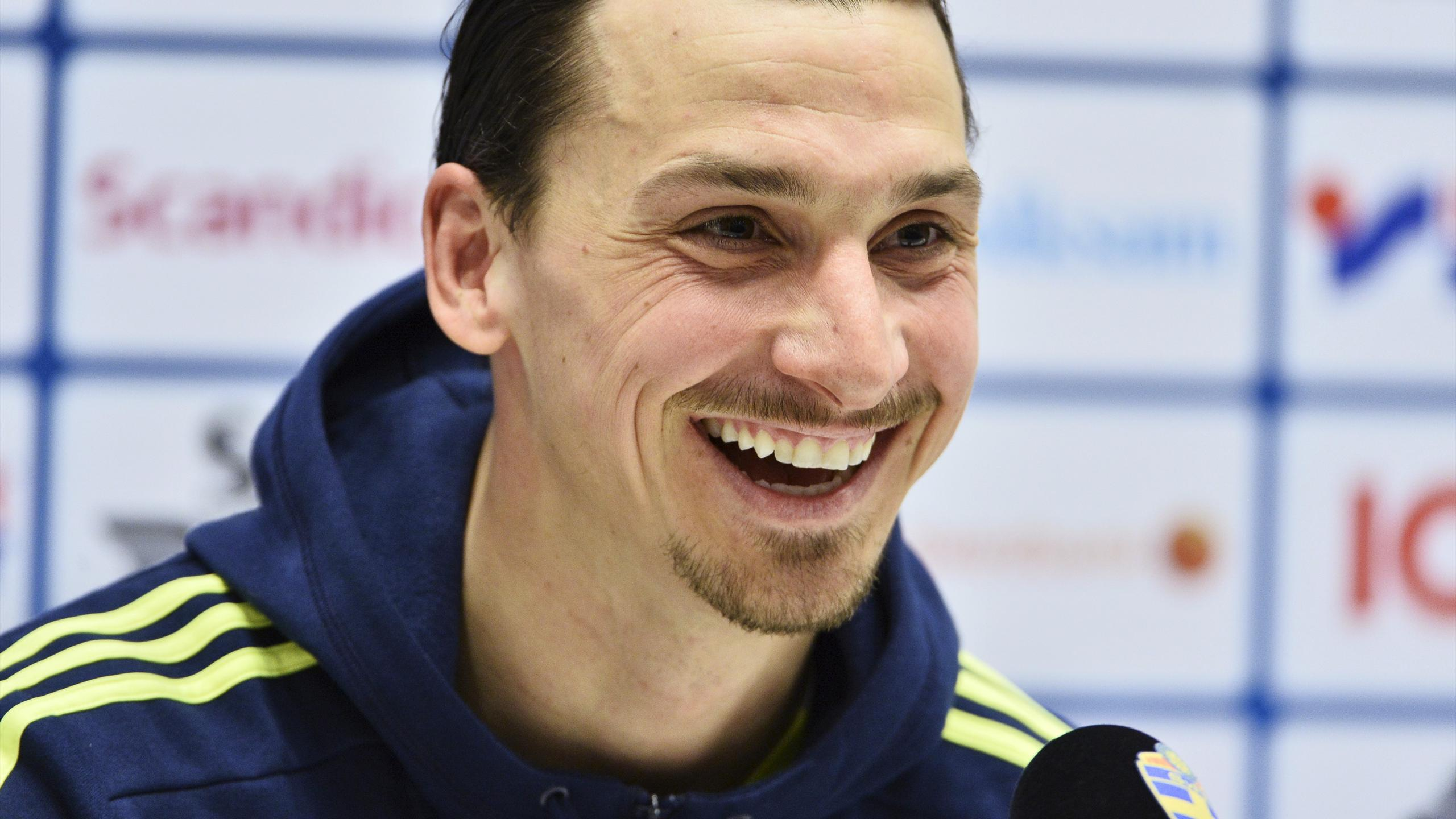 Sweden's Zlatan Ibrahimovic smiles during a press conference