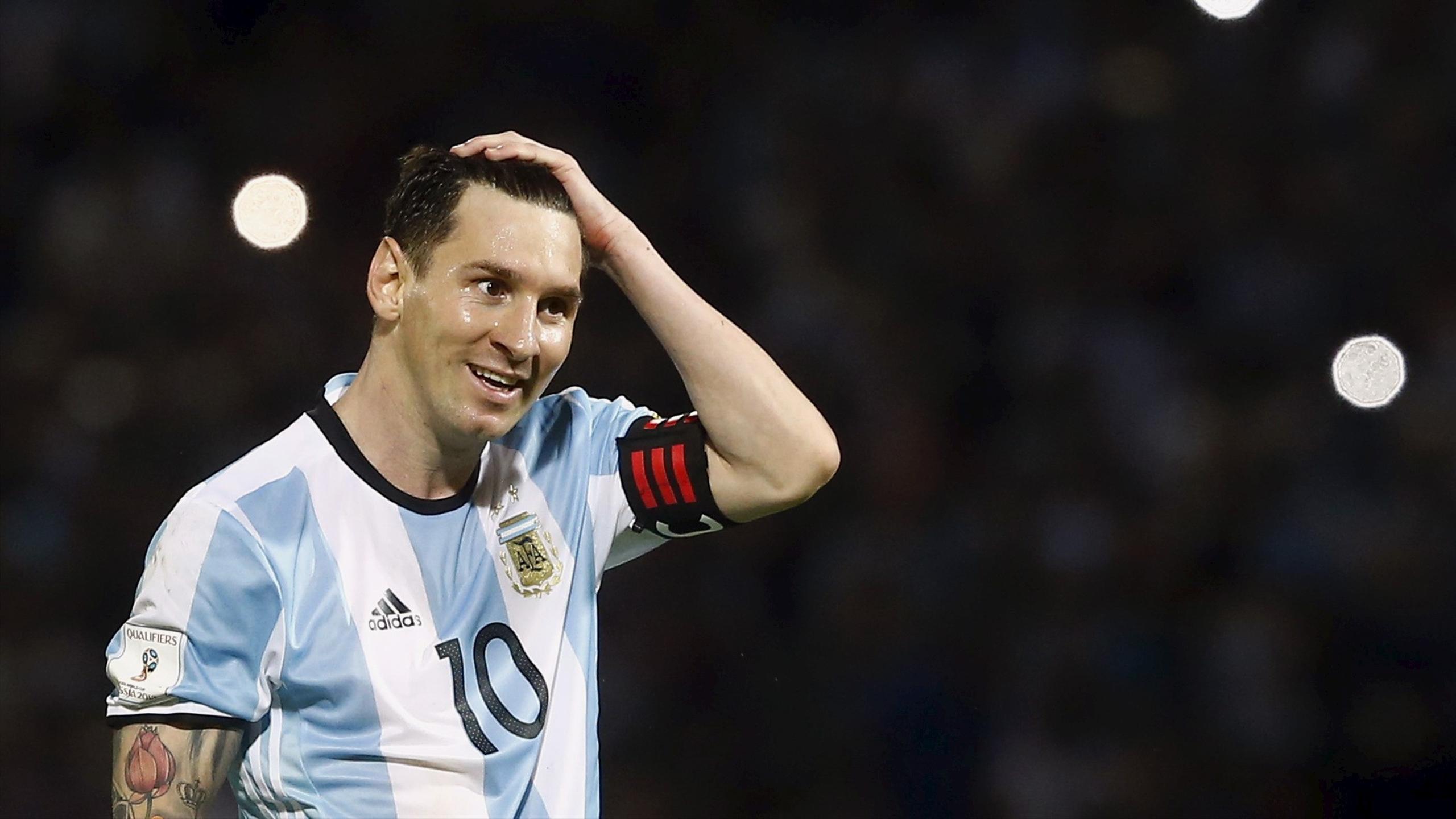 Argentina captain Lionel Messi reacts