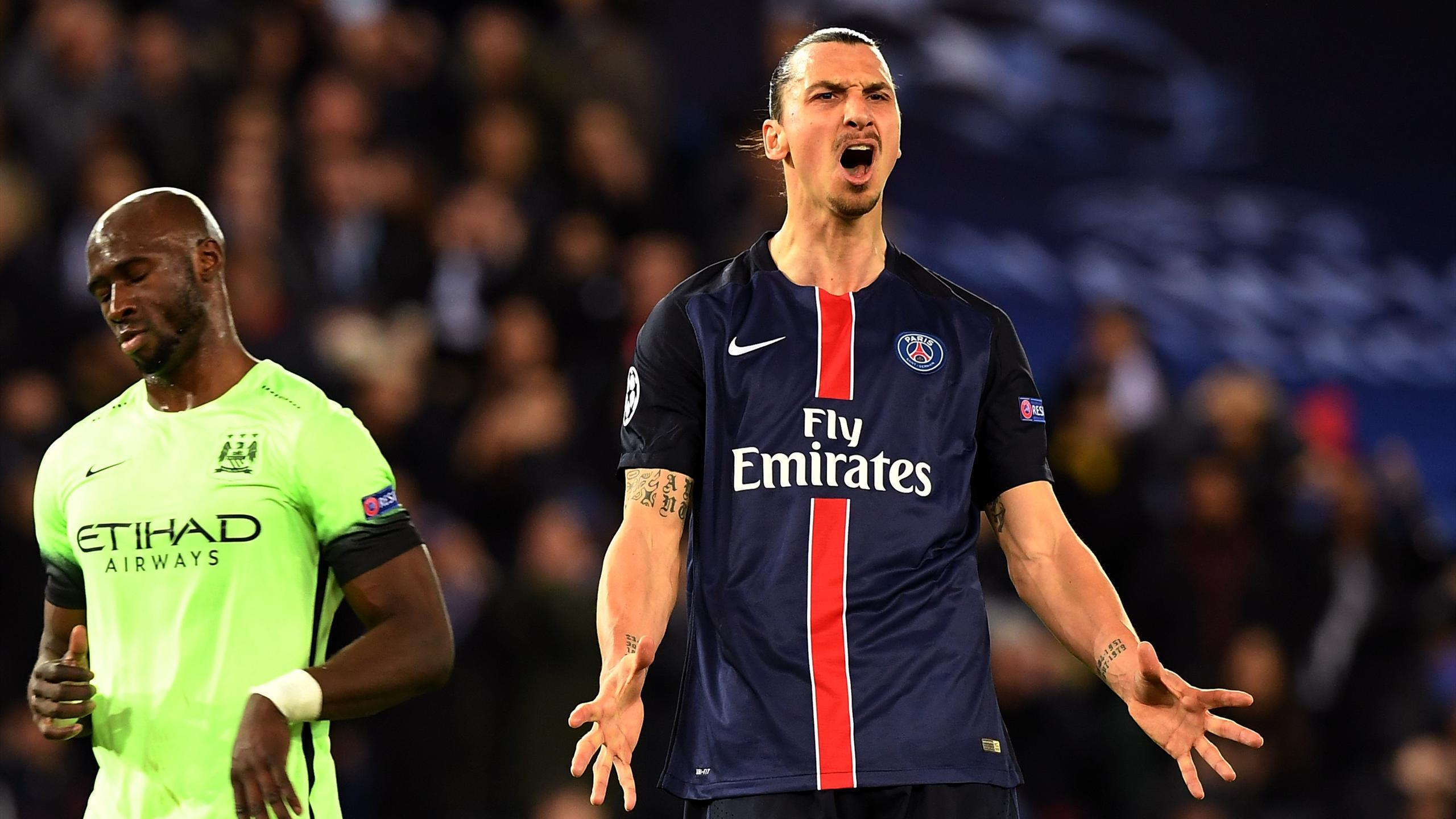 Paris Saint-Germain's Swedish forward Zlatan Ibrahimovic reacts to a missed shot