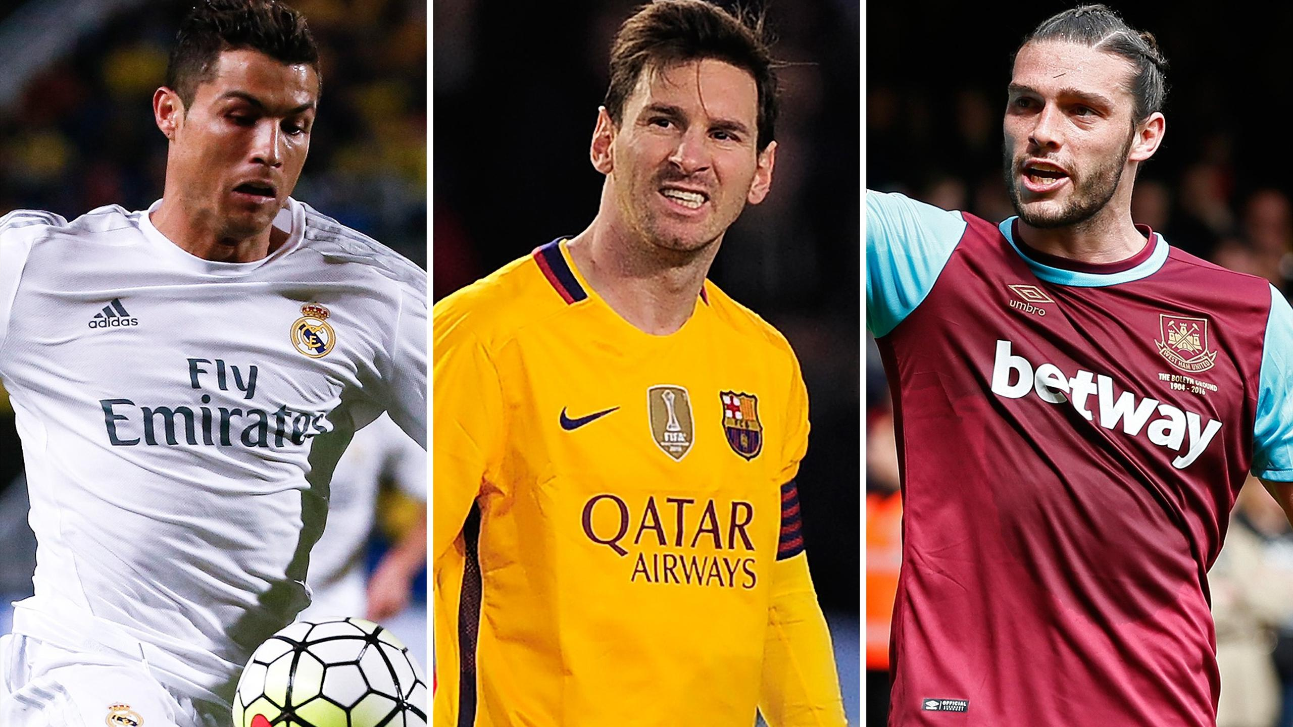 Cristiano Ronaldo, Lionel Messi, Andy Carroll