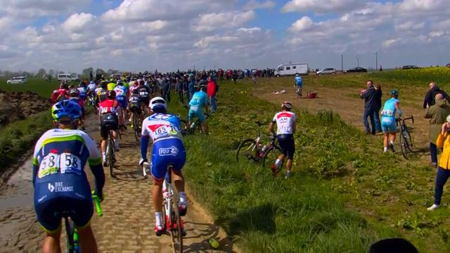 Chaos on the cobbles as riders leave road after crash