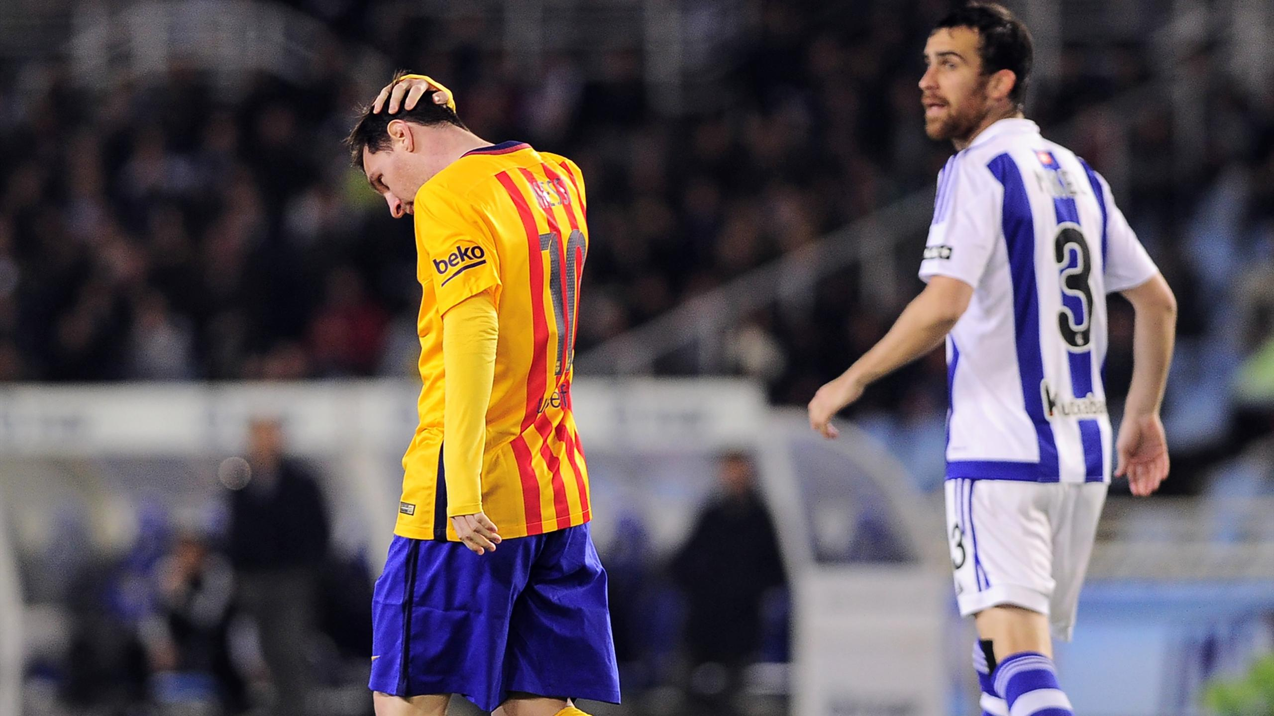 Lionel Messi sur la pelouse de la Real Sociedad
