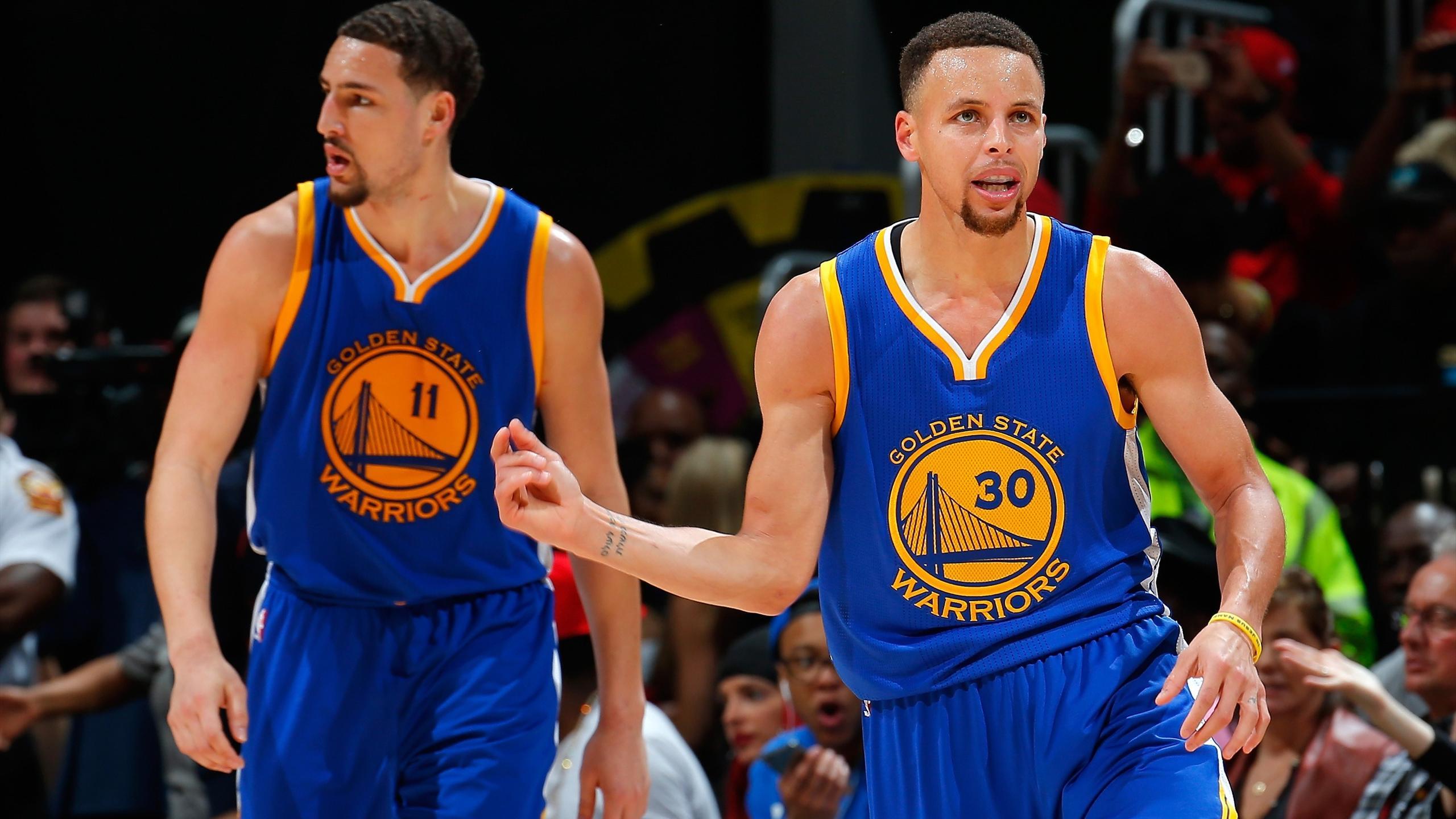 Curry (re.) und Thompson (li.) von den Golden State Warriors