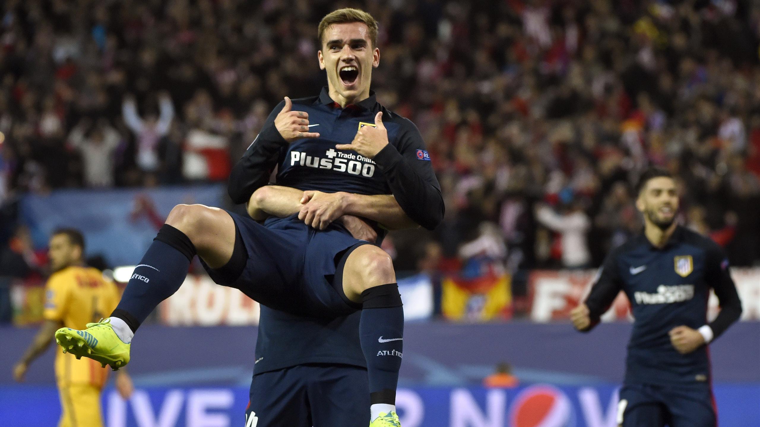 Antoine Griezmann celebrando un gol en el Atlético de Madrid-Barcelona