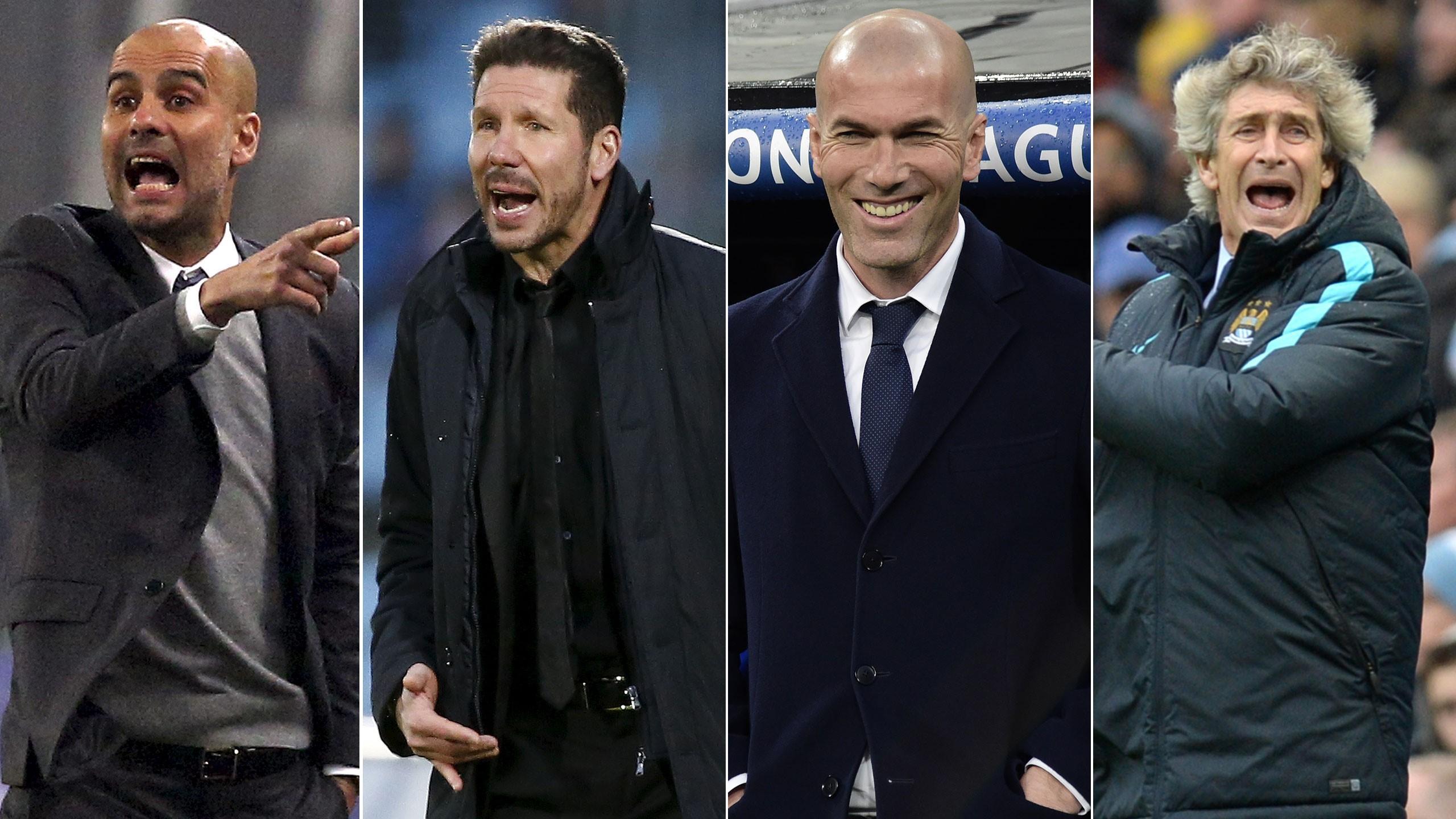 Pep Guardiola, Diego Simeone, Zinedine Zidane and Manuel Pellegrini