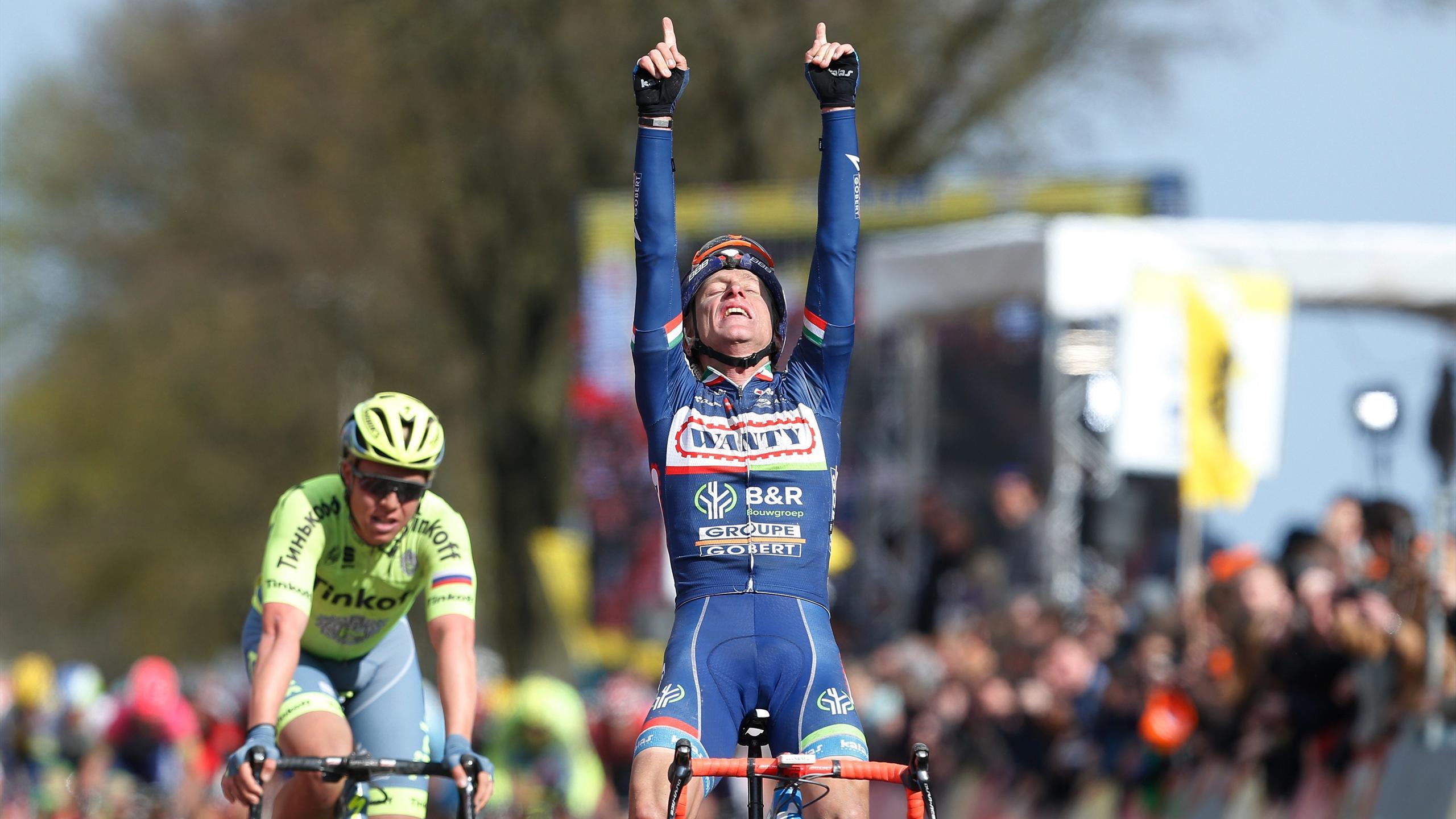 Enrico Gasparotto lors de sa victoire sur l'Amstel Gold Race