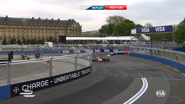 Nick Heidfeld crashes, try to drive over own nose cone
