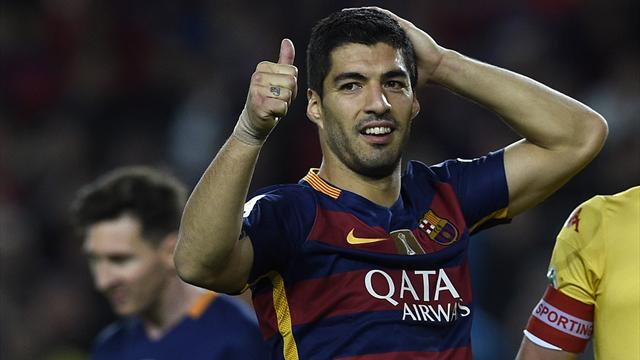Suarez frappe encore quatre fois et le Barça conserve son fauteuil de leader